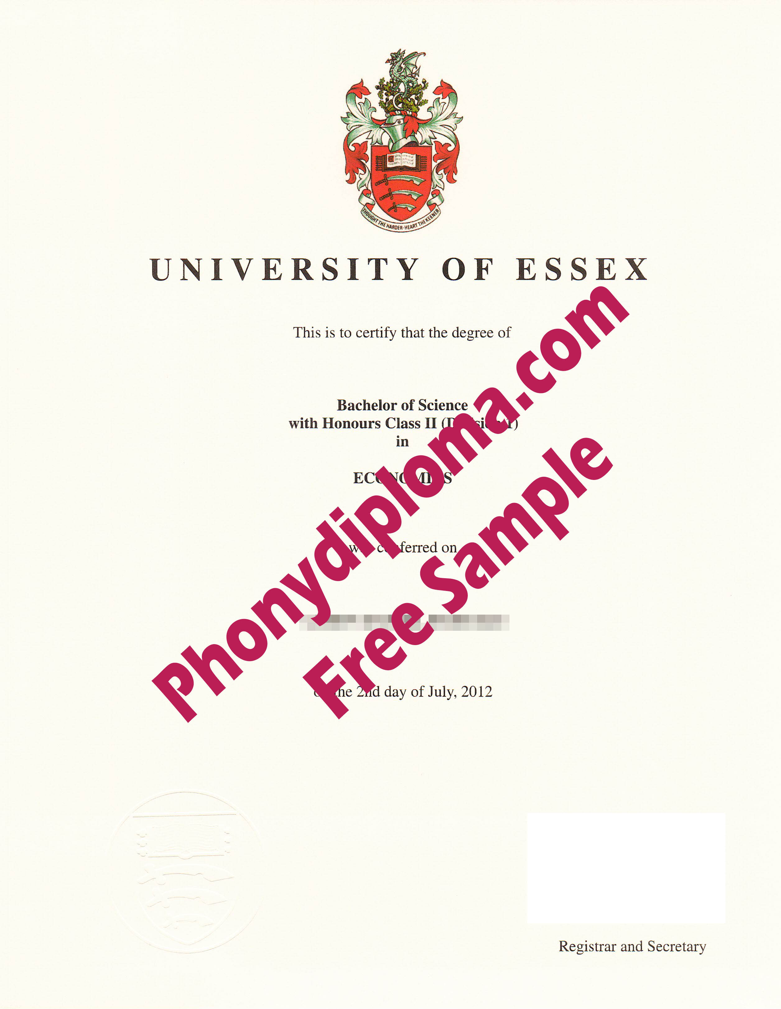 University Of Essex Free Sample From Phonydiploma