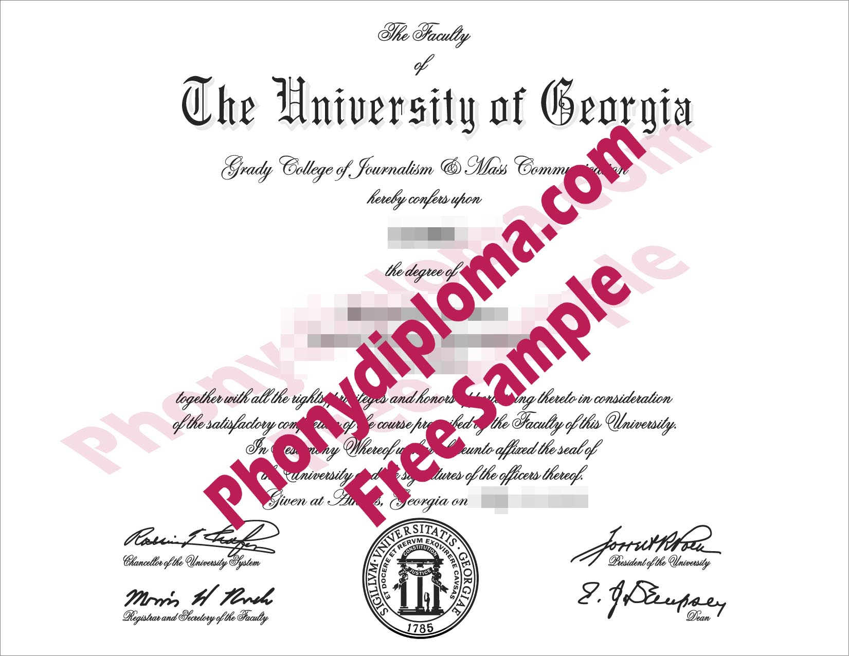 University Of Georgia Free Sample From Phonydiploma