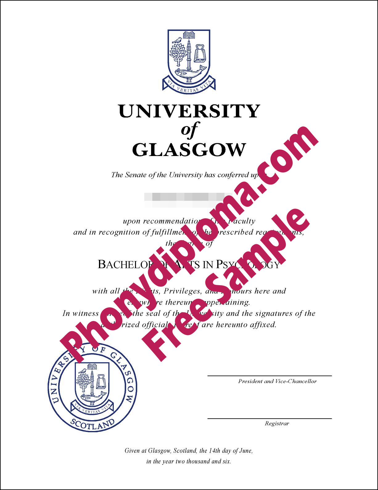 University Of Glasgow Free Sample From Phonydiploma