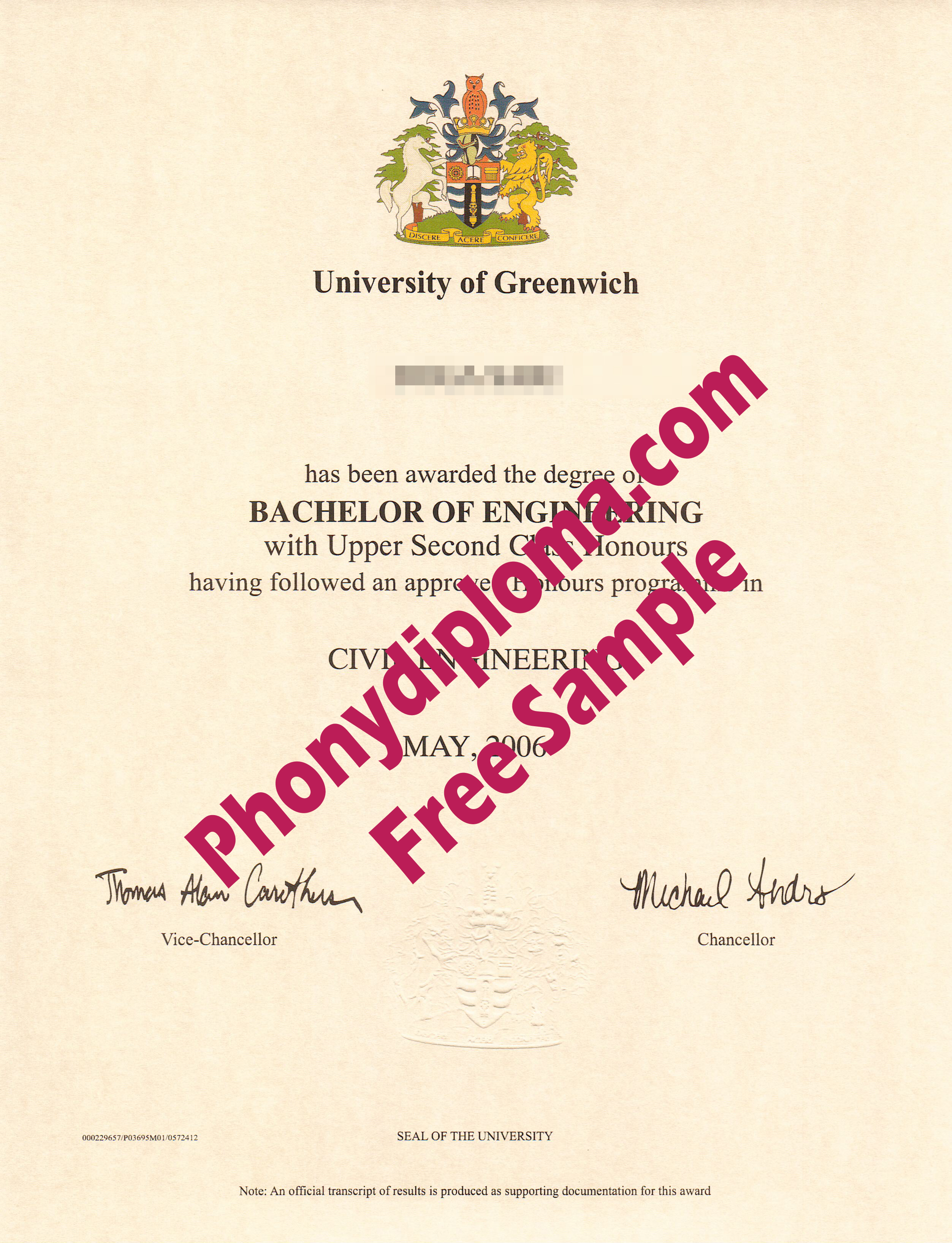 University Of Greenwich Free Sample 2 From Phonydiploma
