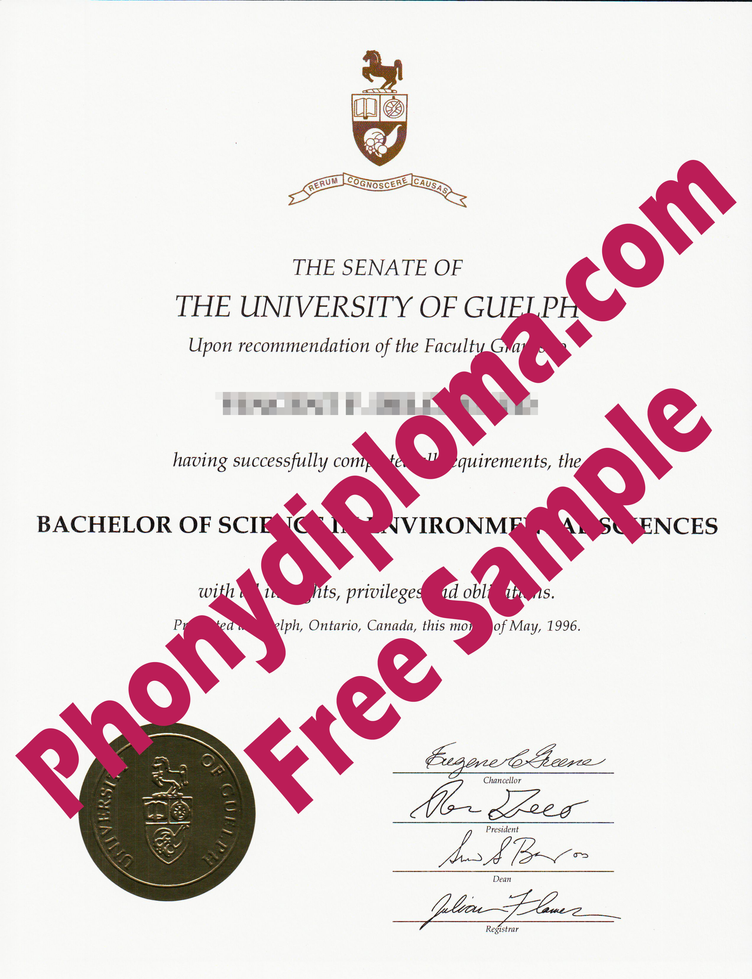 University Of Guelph Free Sample From Phonydiploma