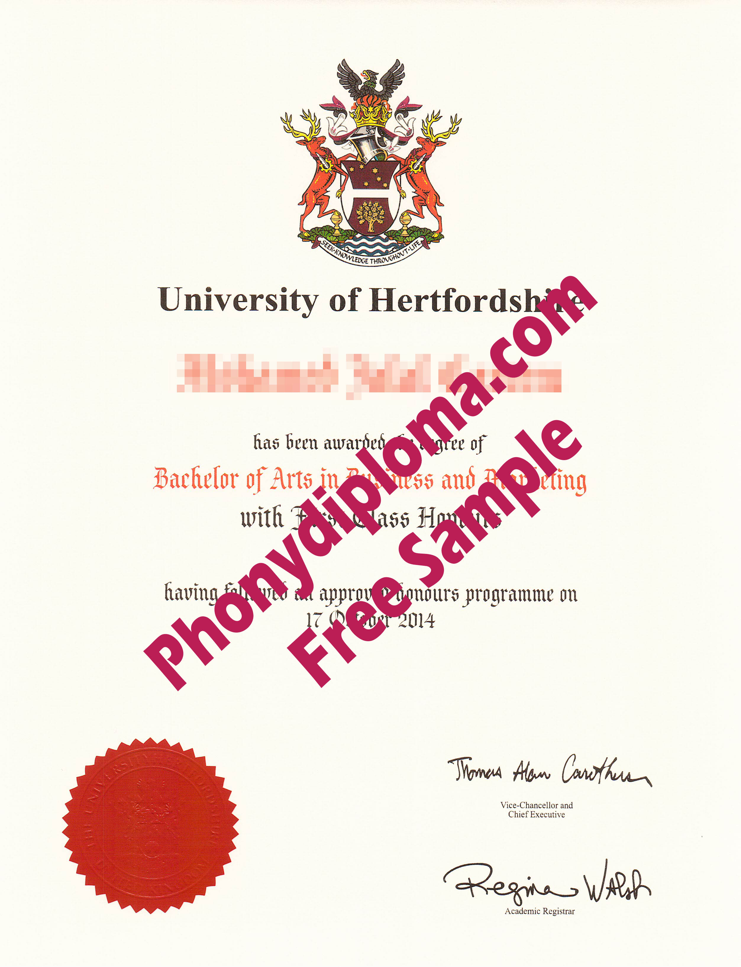 University Of Hertfordshire Free Sample From Phonydiploma