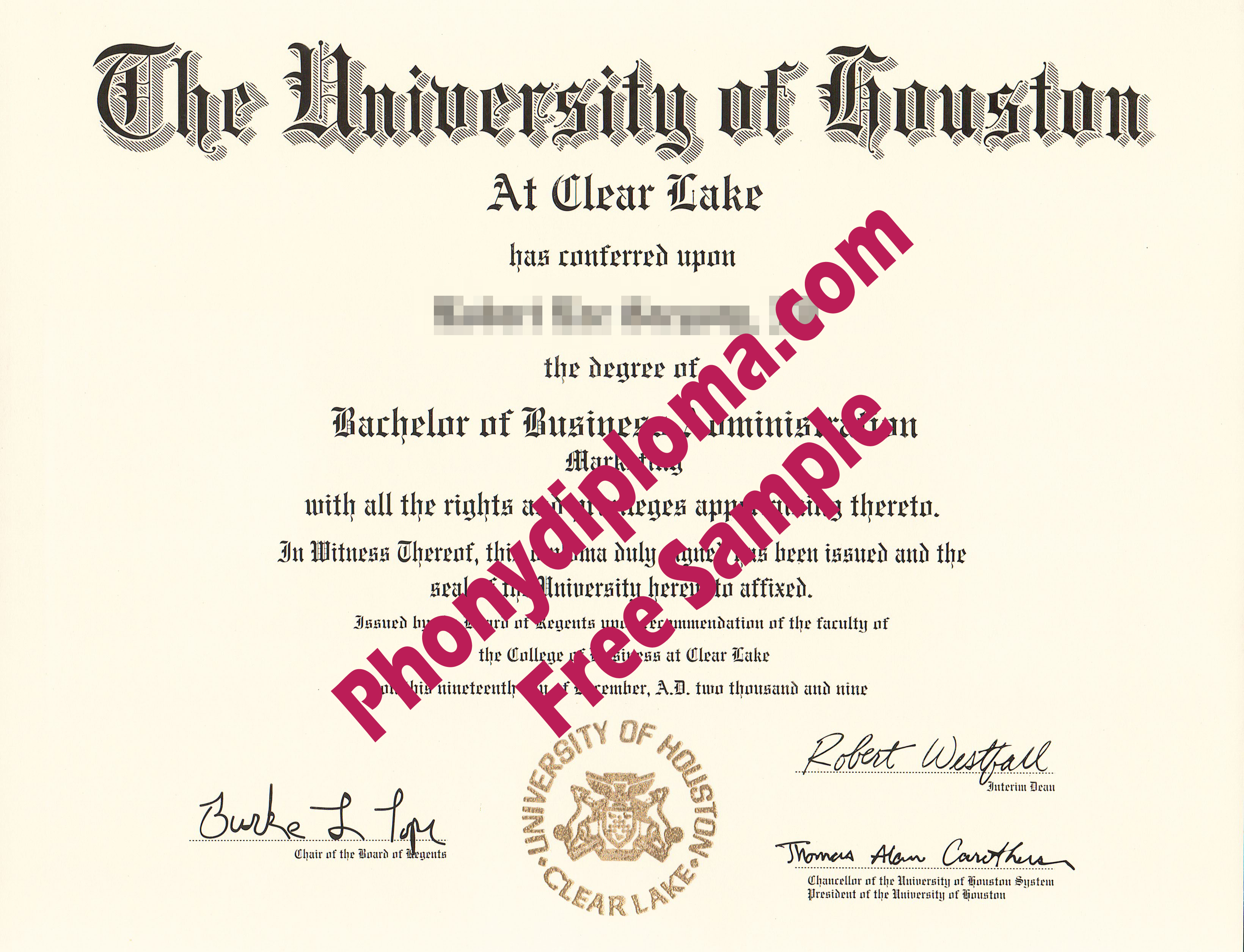 University Of Houston Clear Lake Free Sample From Phonydiploma