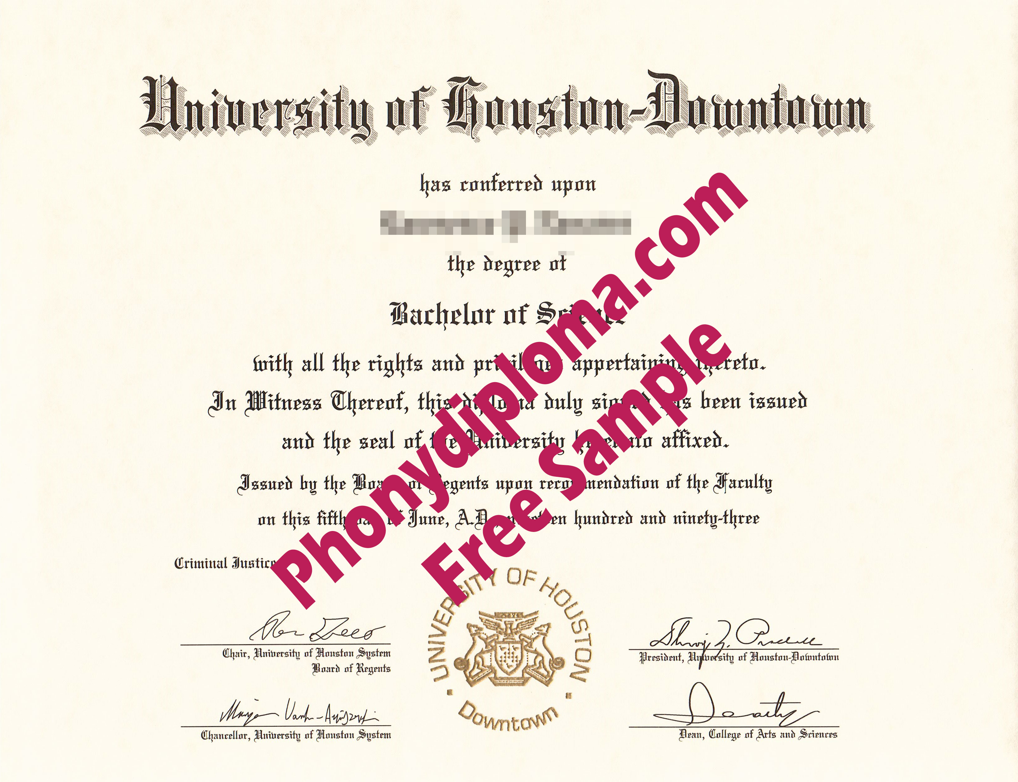 University Of Houston Downtown Free Sample From Phonydiploma