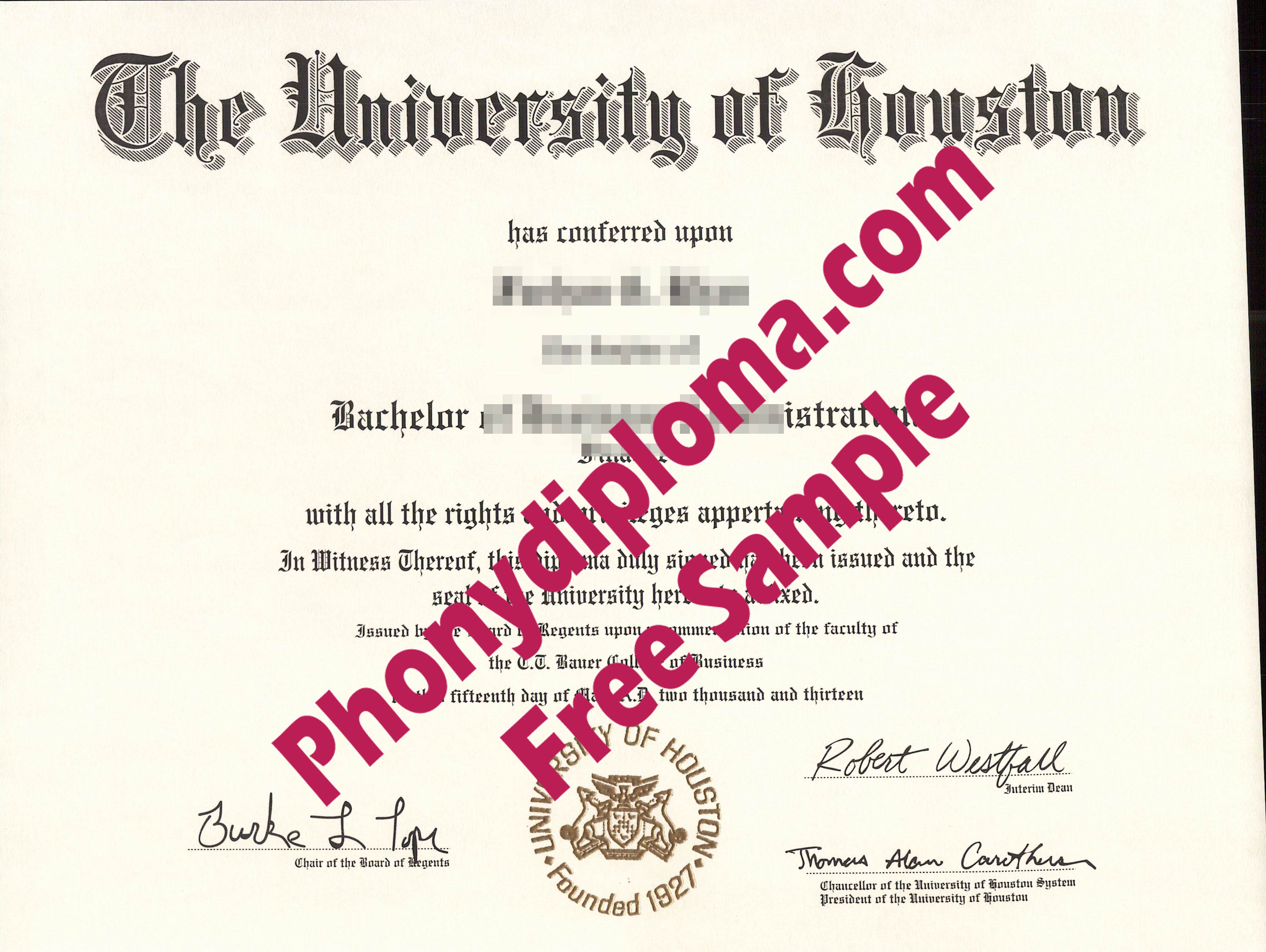University Of Houston Free Sample From Phonydiploma