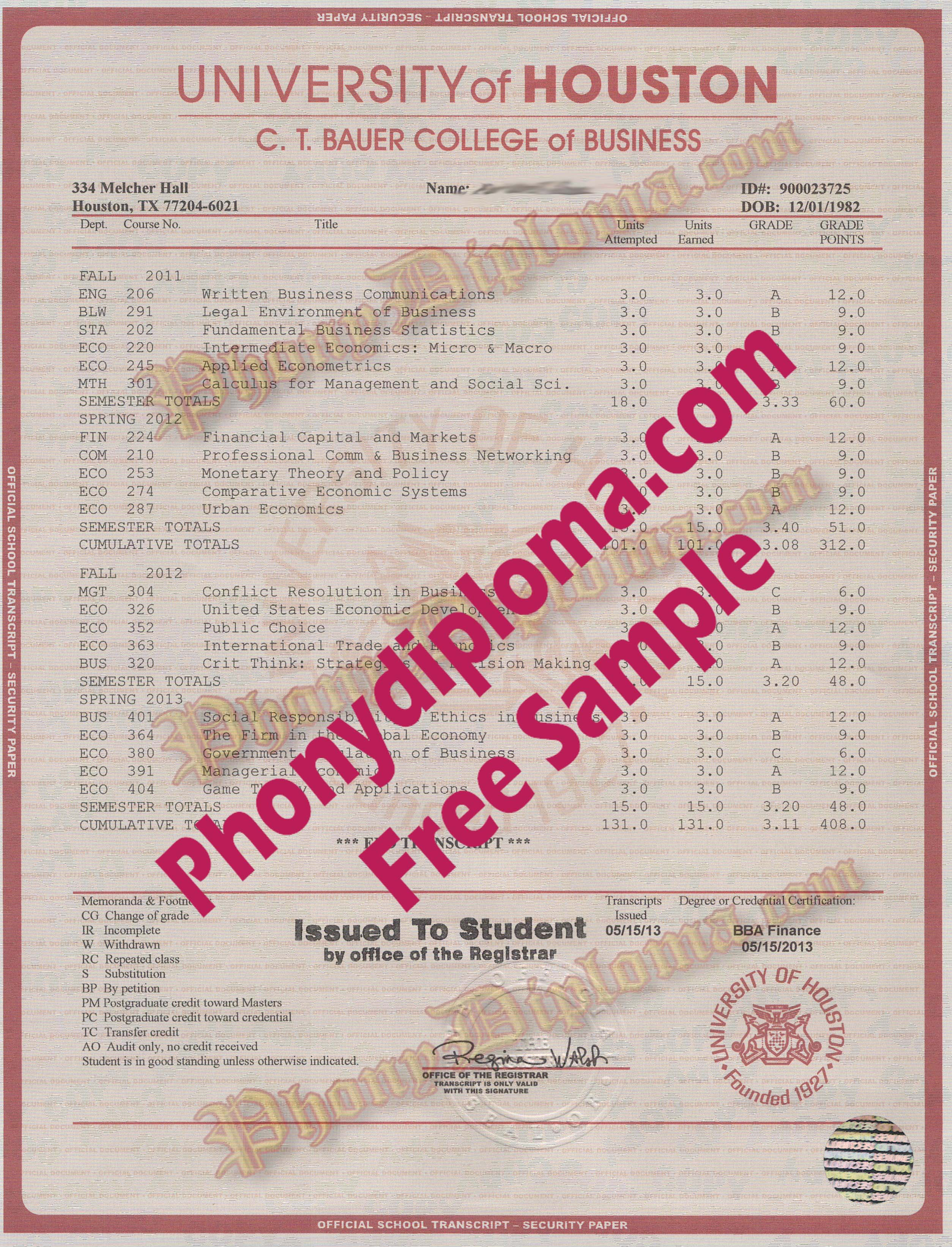 University Of Houston House Design Transcript Free Sample From Phonydiploma
