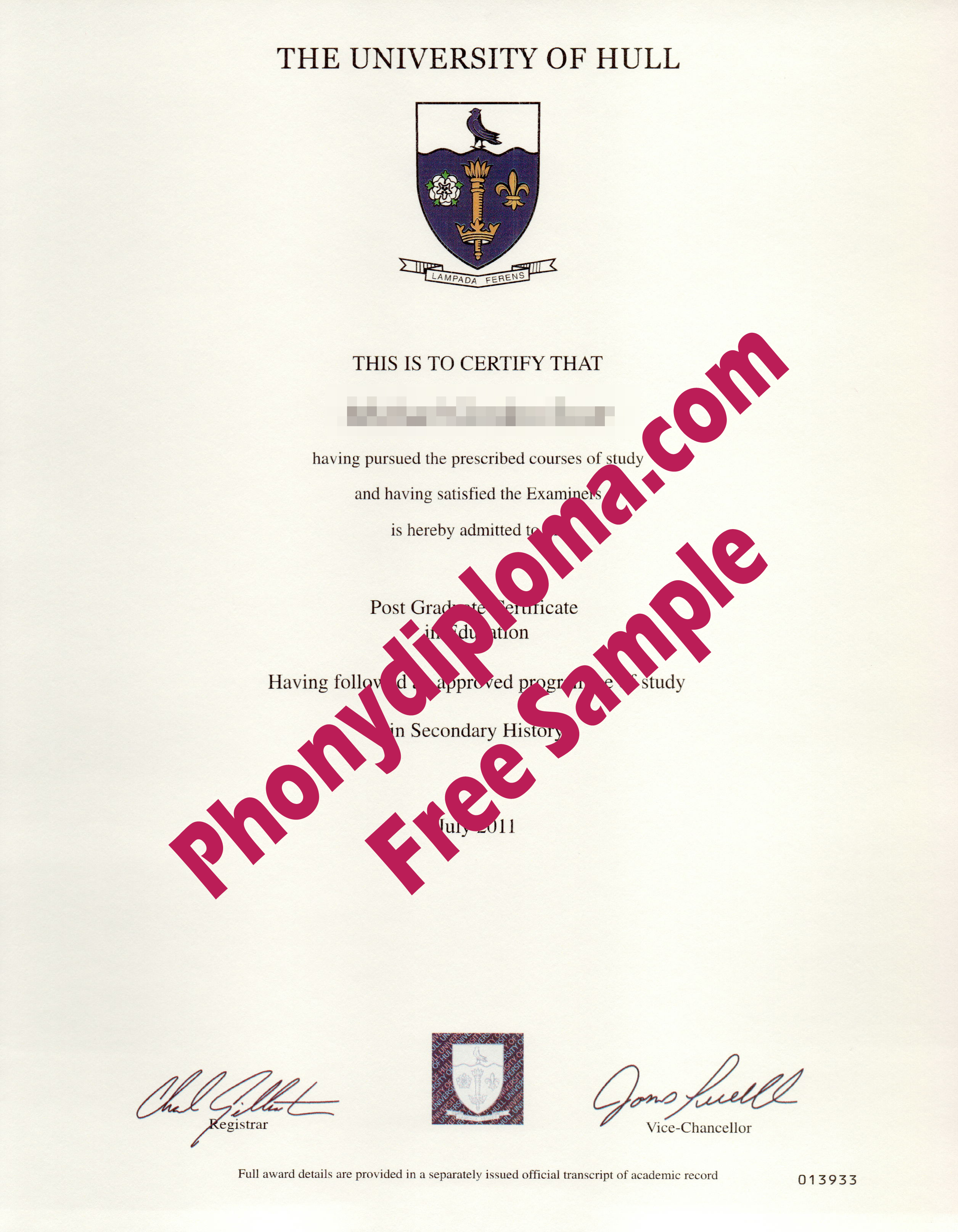 University Of Hull Free Sample From Phonydiploma