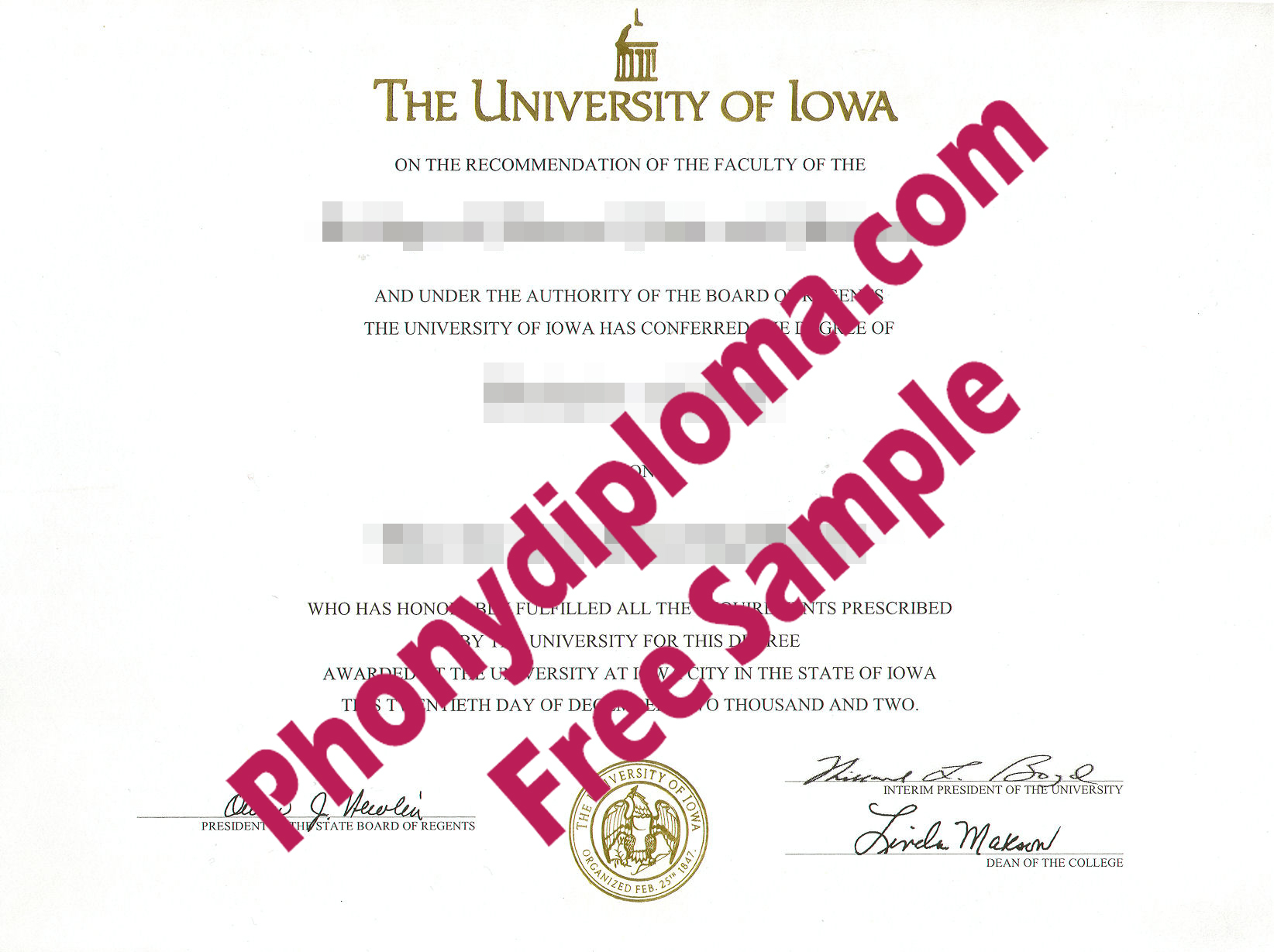 University Of Iowa Free Sample From Phonydiploma