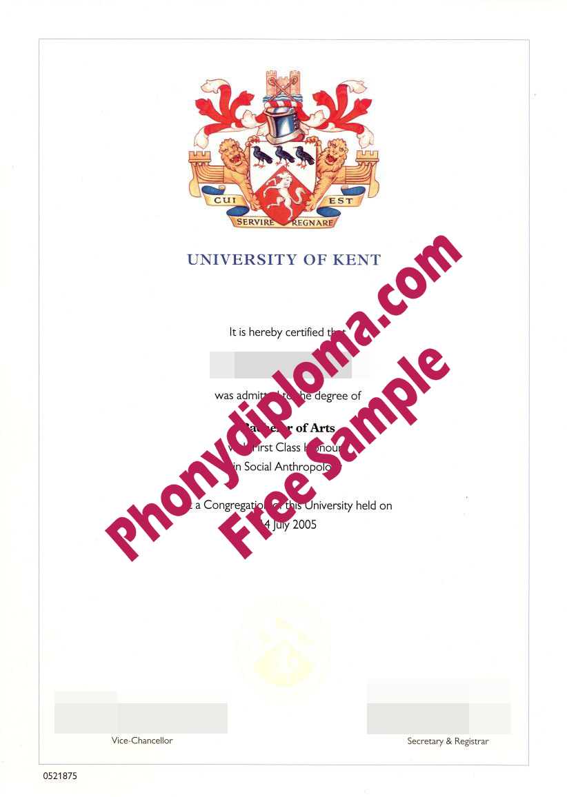 University Of Kent Free Sample From Phonydiploma