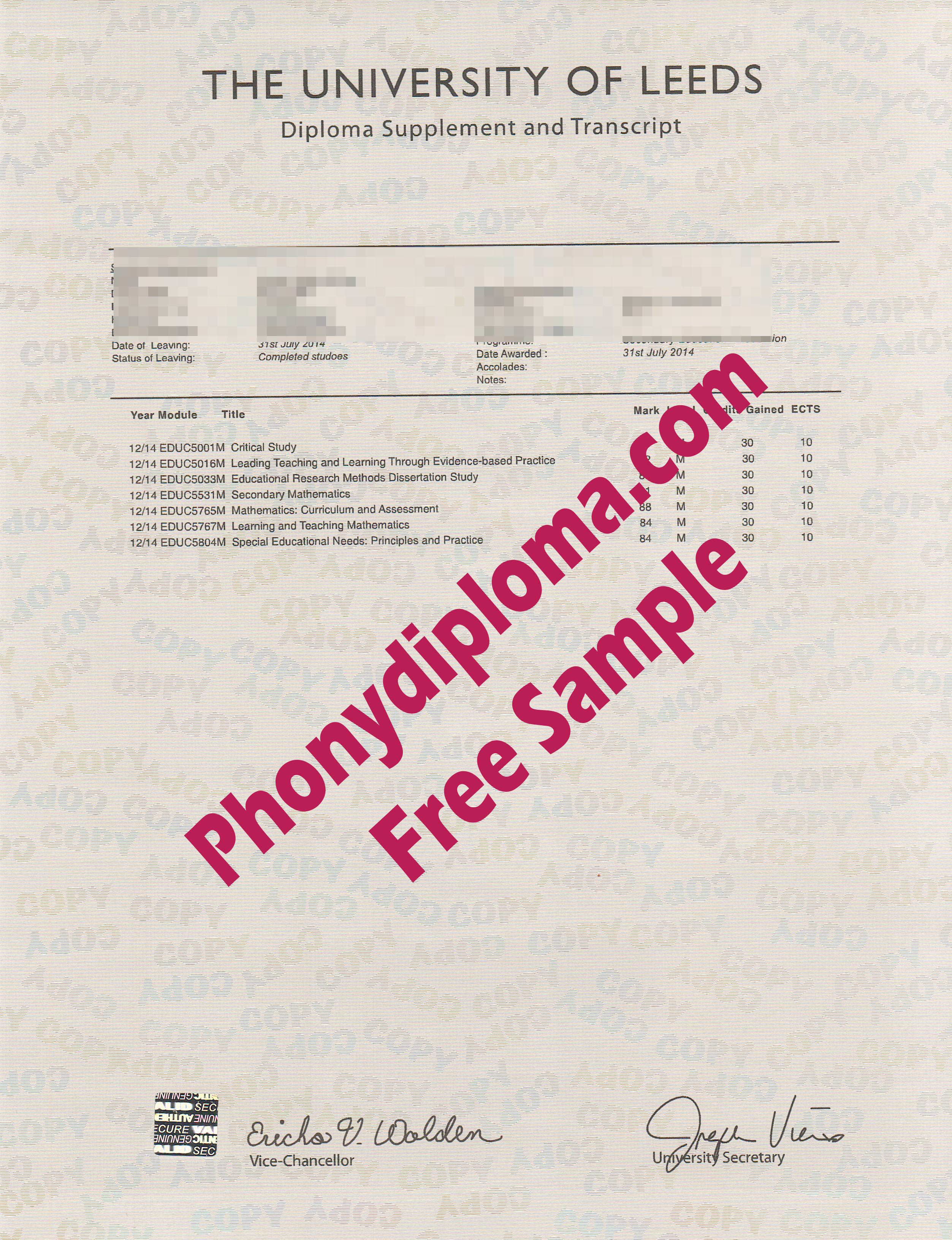 University Of Leeds Actual Match Transcript Free Sample From Phonydiploma
