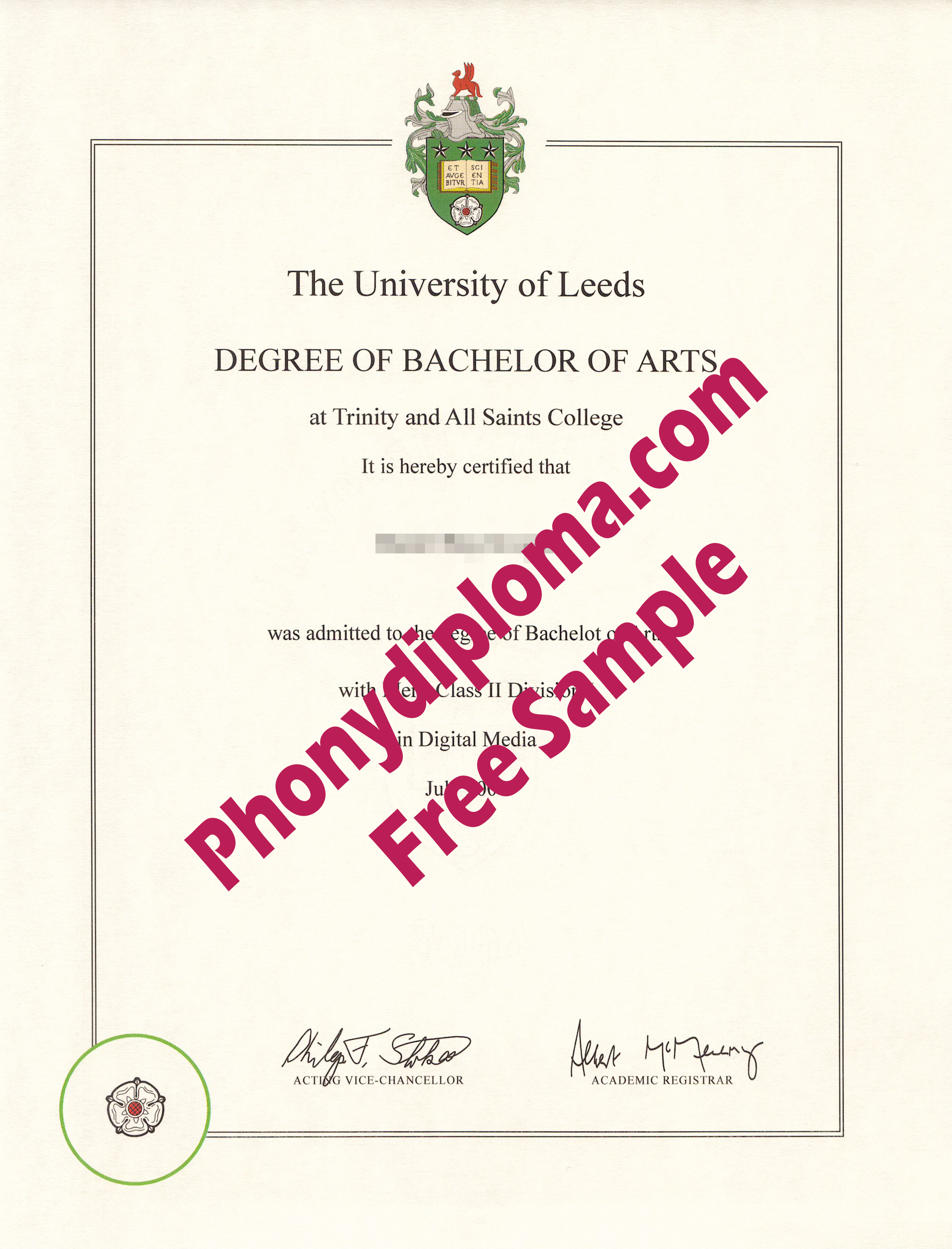 University Of Leeds Free Sample From Phonydiploma