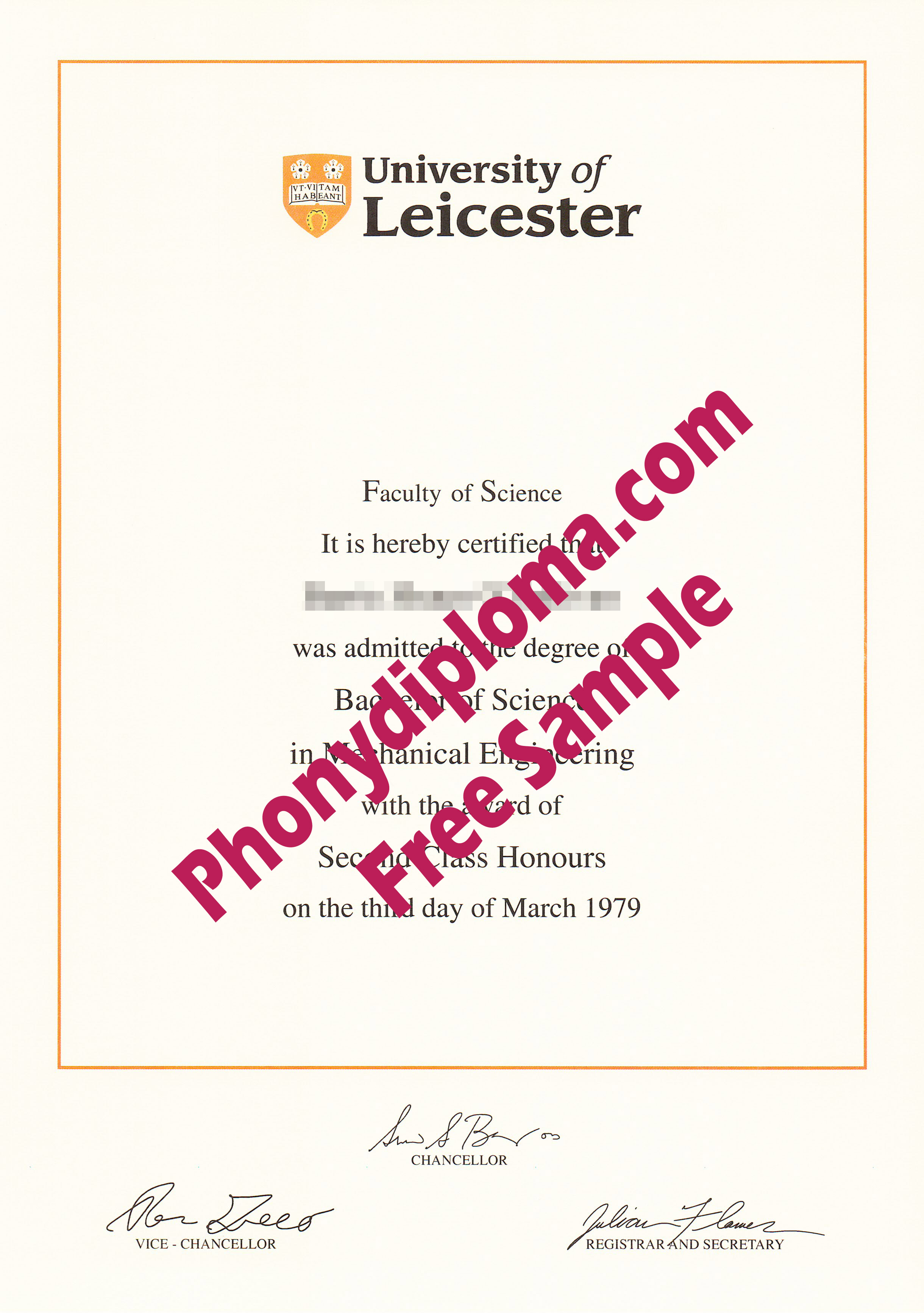 University Of Leicester Free Sample From Phonydiploma