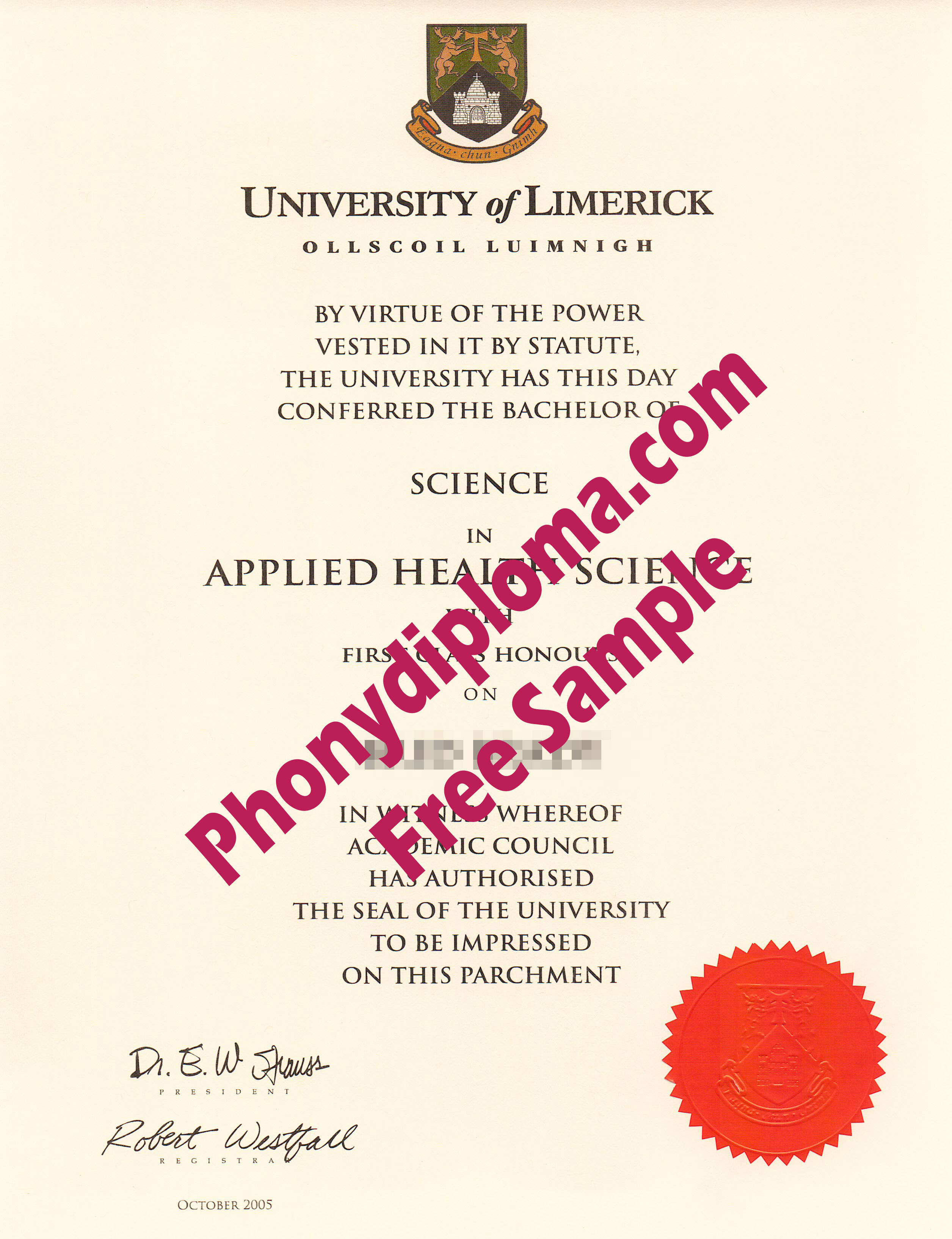University Of Limerick Free Sample From Phonydiploma