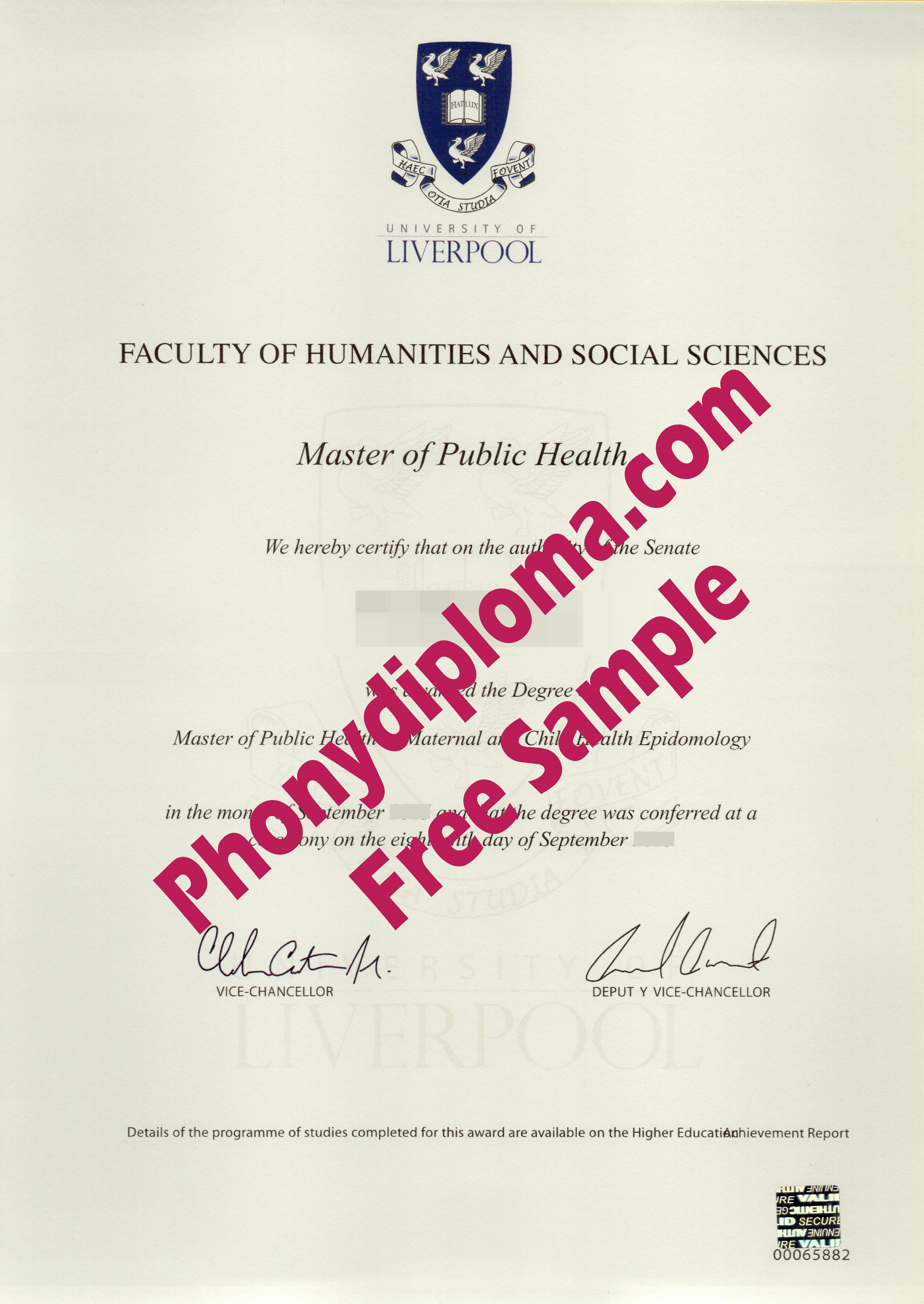 University Of Liverpool Free Sample From Phonydiploma
