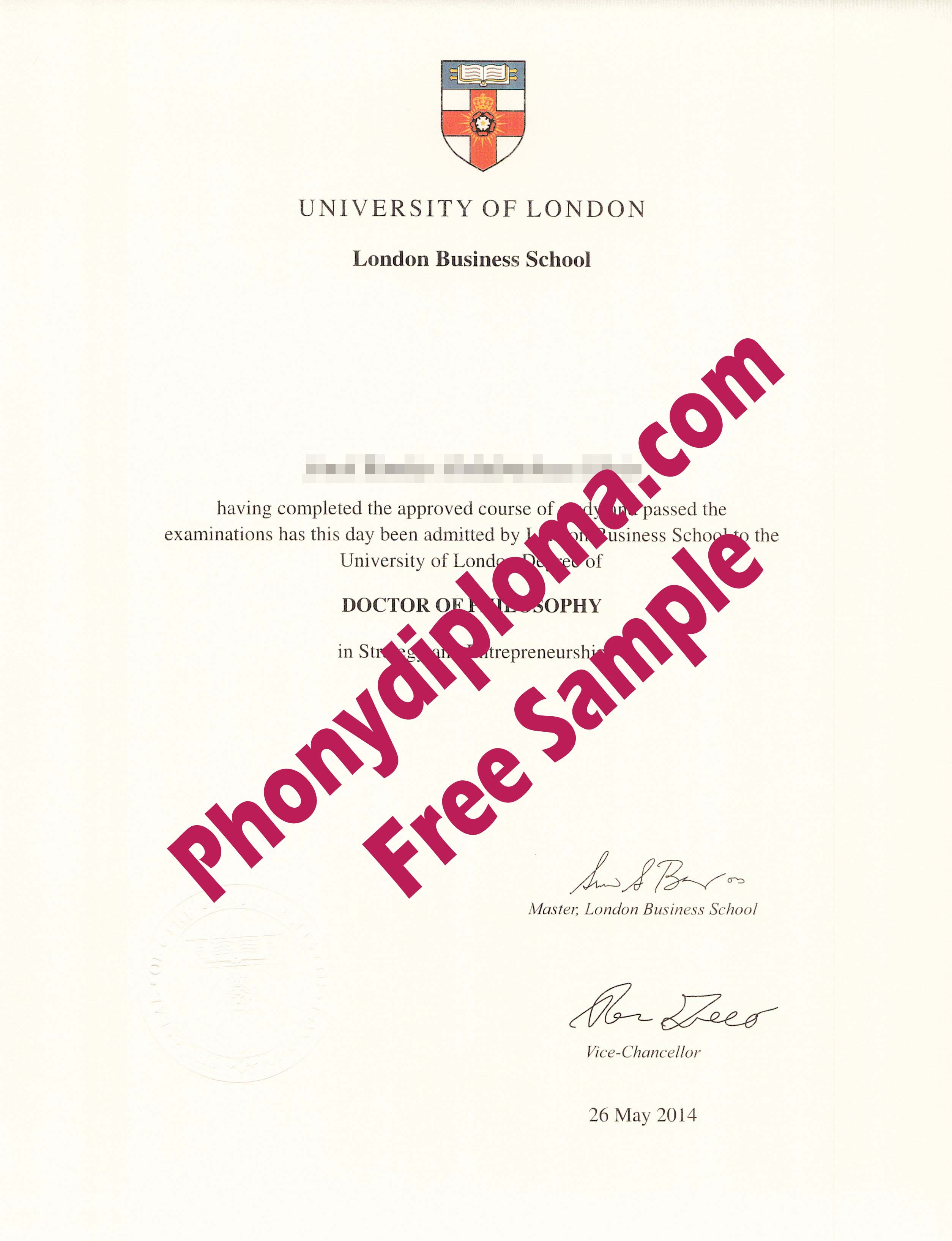 University Of London Business School Free Sample From Phonydiploma