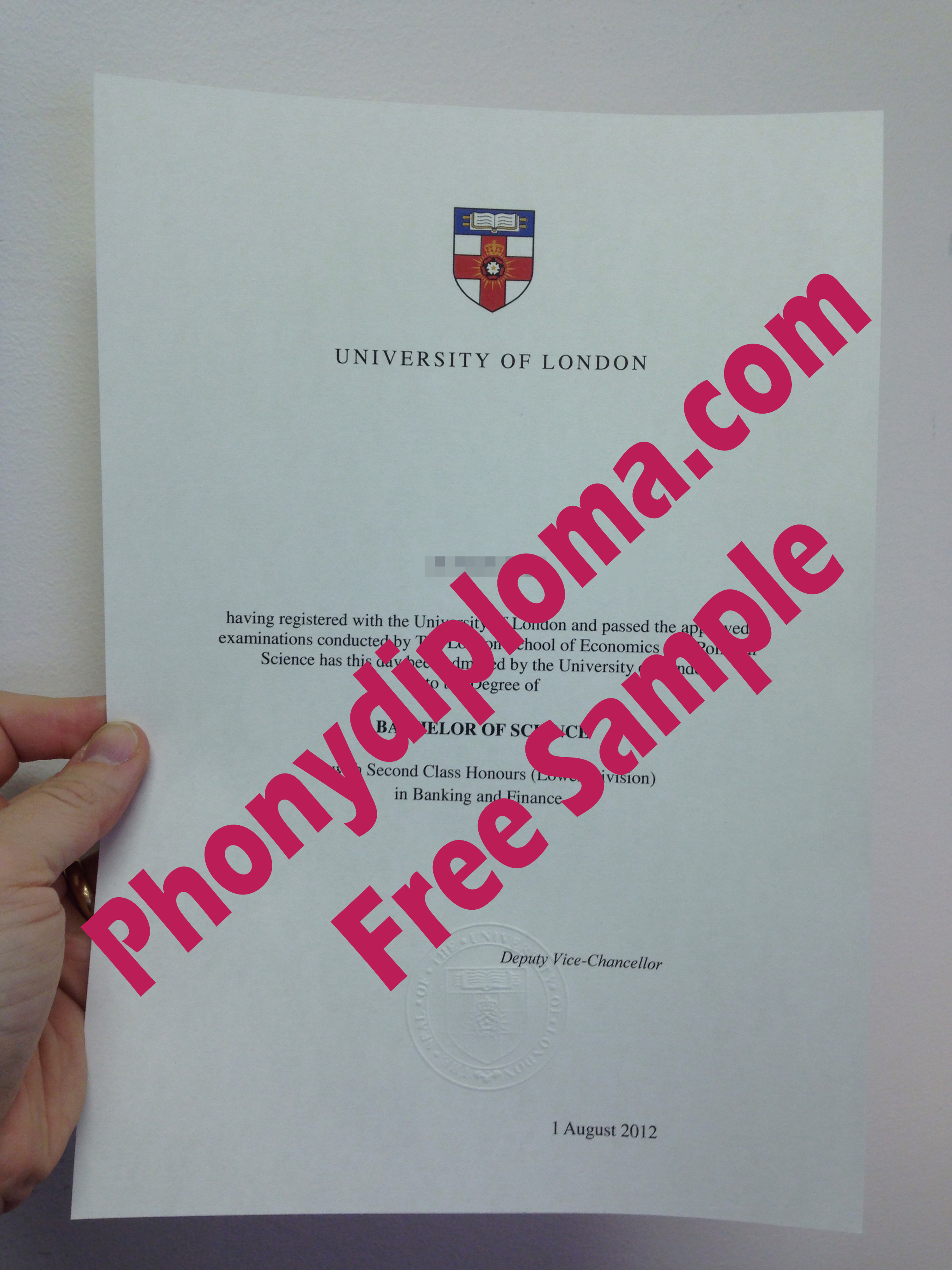 University Of London Diploma Free Sample From Phonydiploma