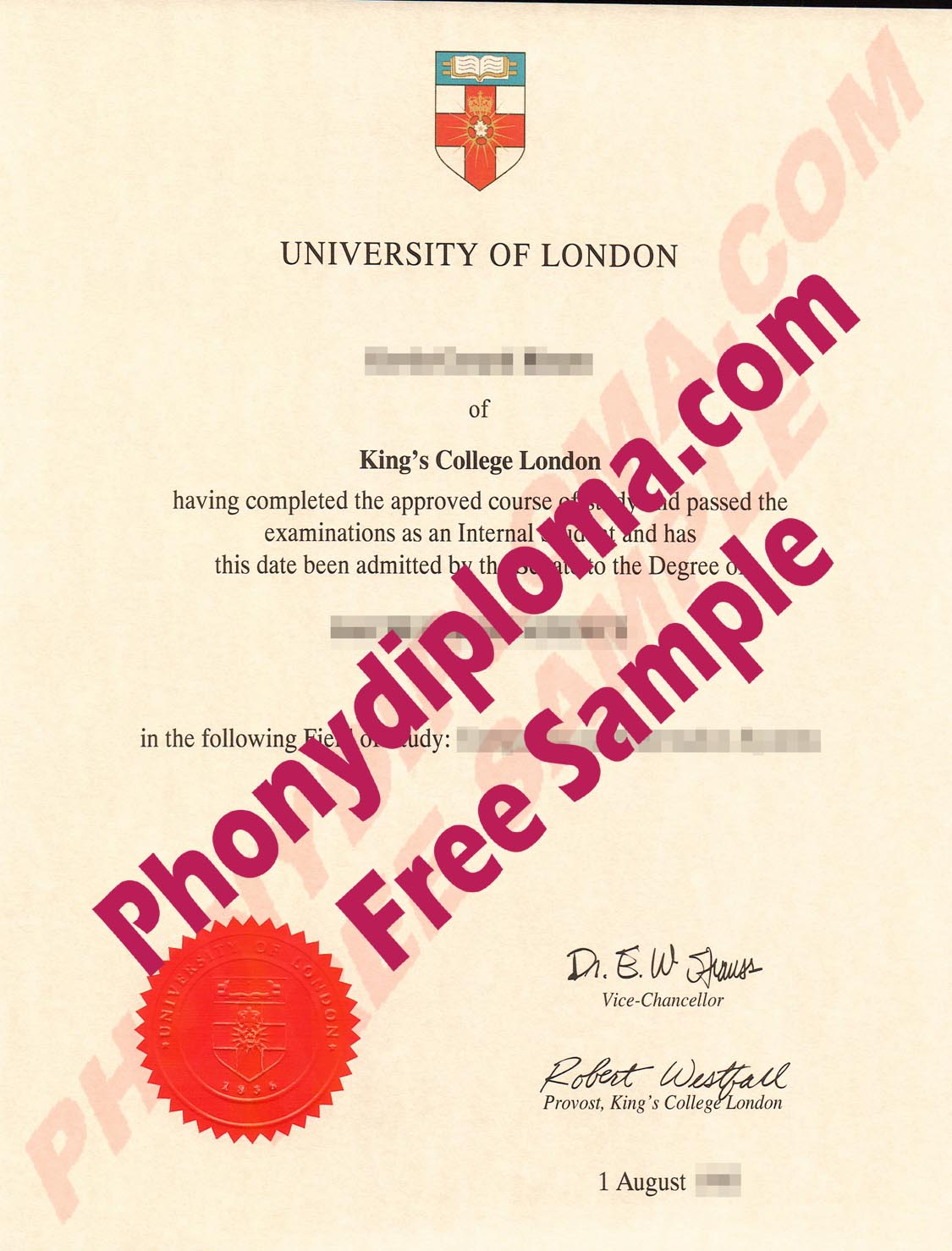 University Of London Kings College London Free Sample From Phonydiploma