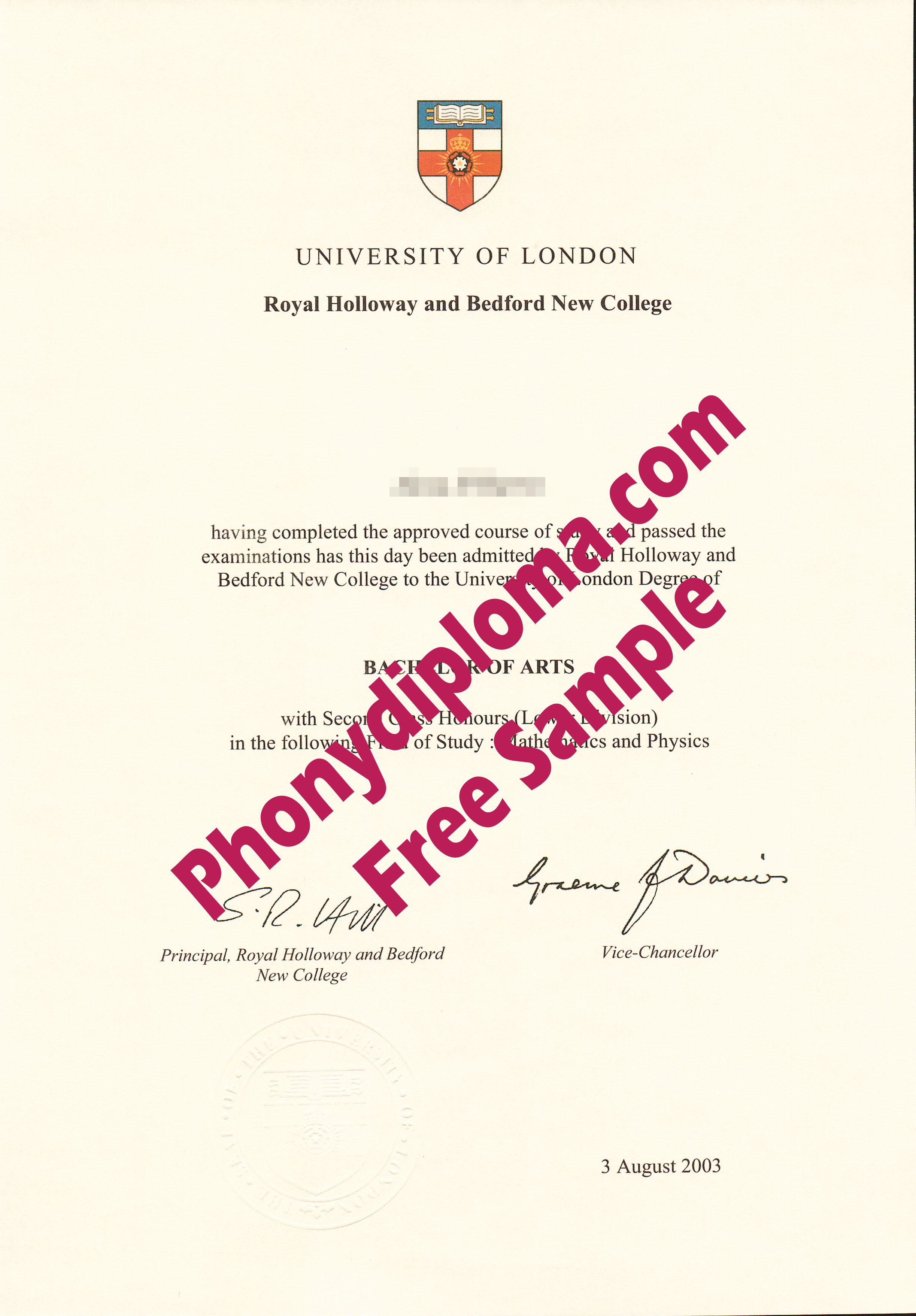 University Of London Royal Holloway And Bedford New College Free Sample From Phonydiploma