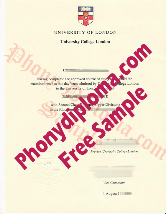University Of London University College London Free Sample From Phonydiploma