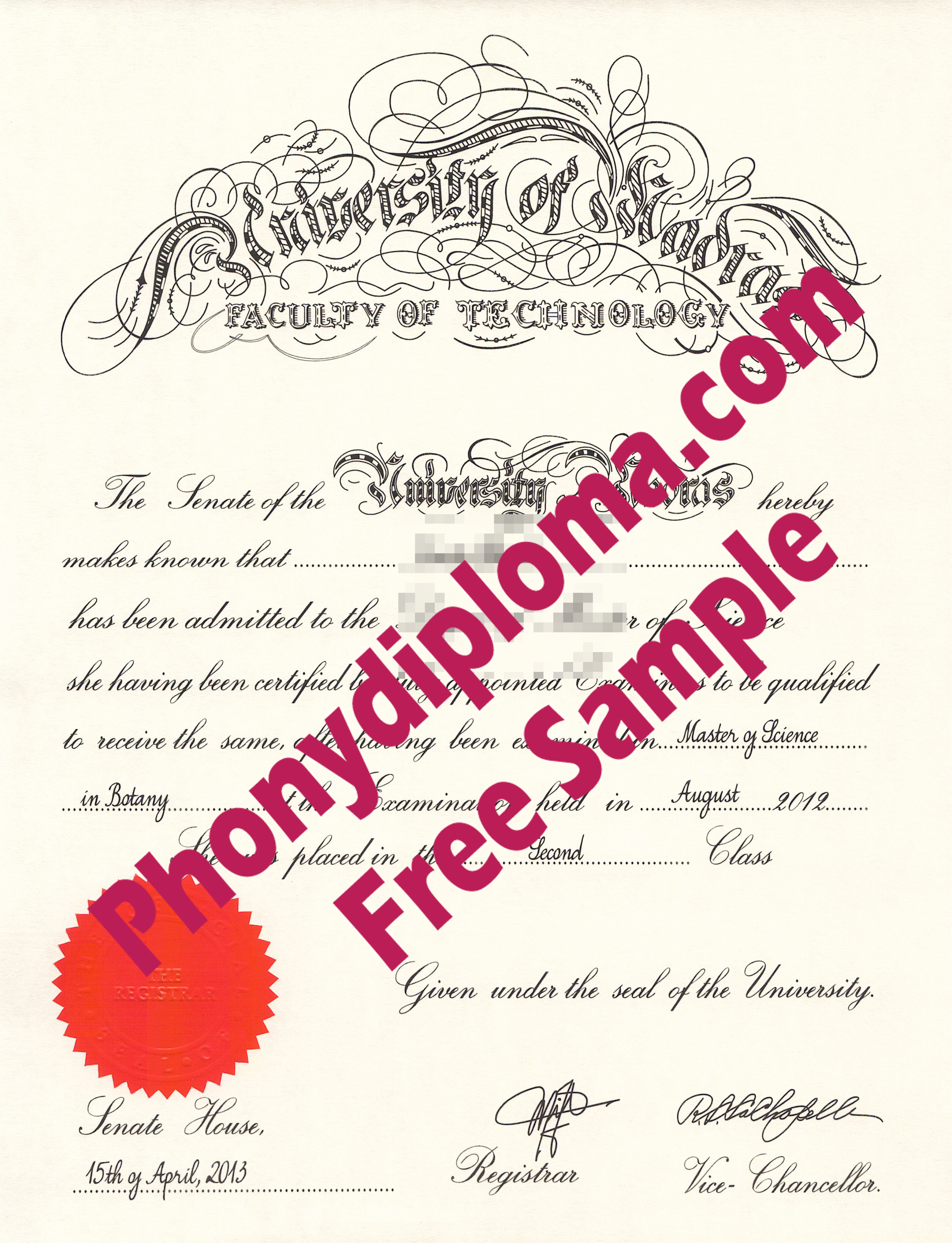 University Of Madras Free Sample From Phonydiploma