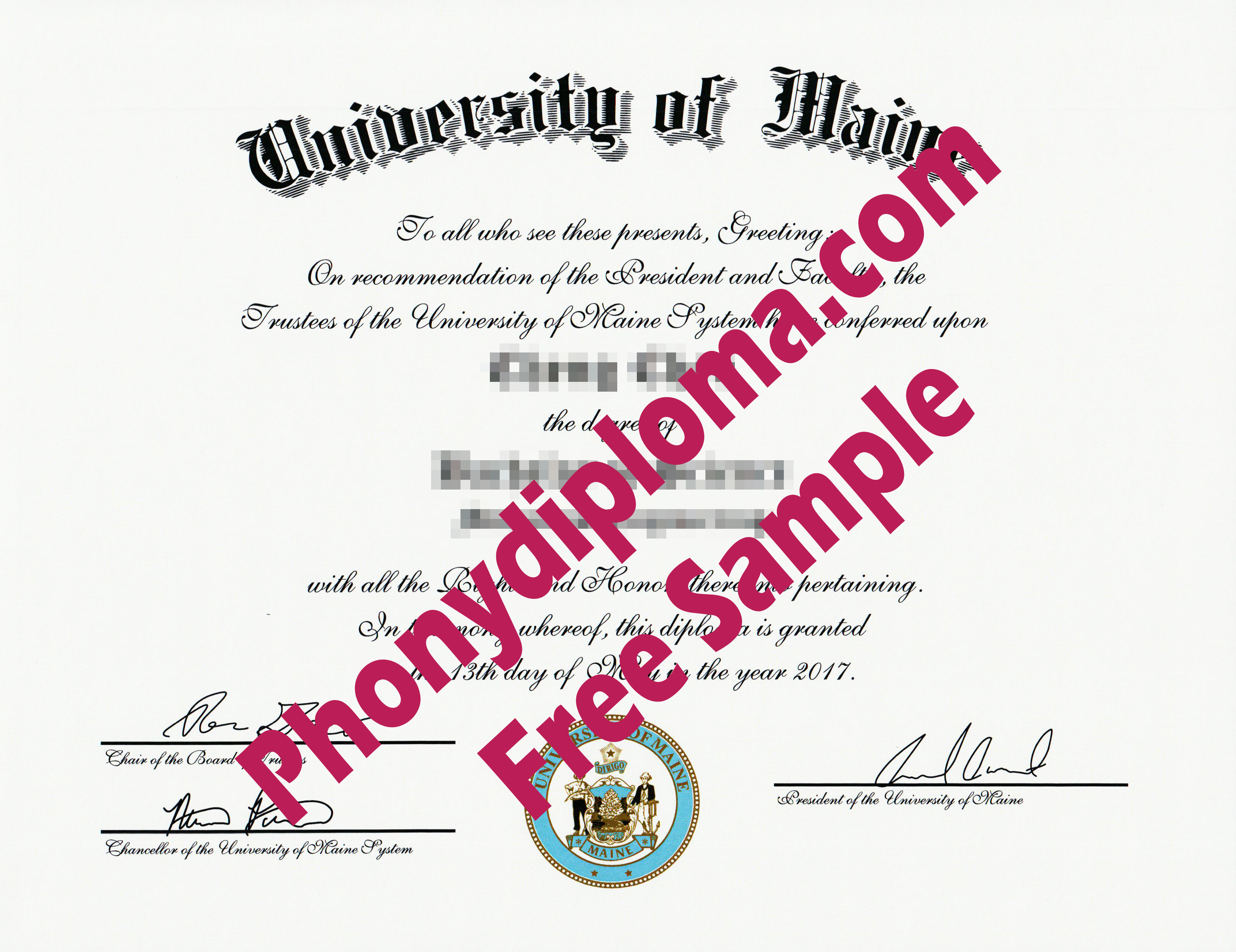 University Of Maine Eversion With Color Emblem Free Sample From Phonydiploma