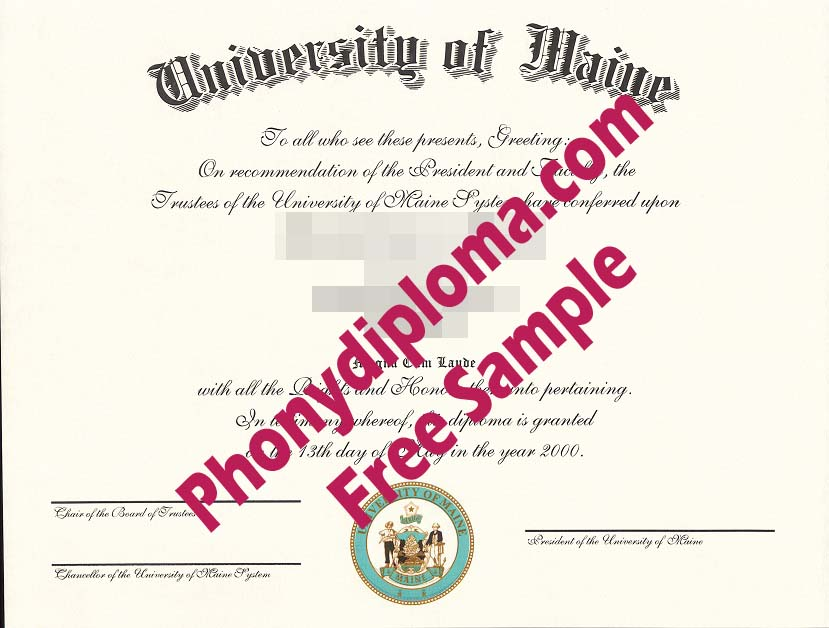 University Of Maine Free Sample From Phonydiploma