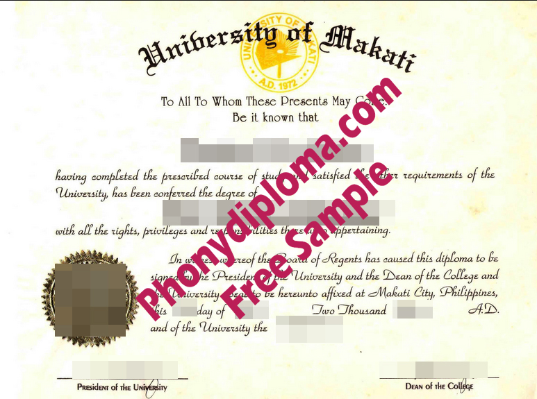 University Of Makati Philippines Free Sample From Phonydiploma