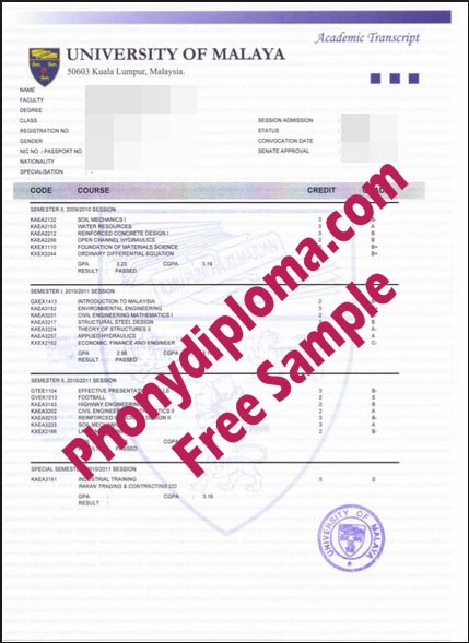 University Of Malaya Actual Match Transcript Free Sample From Phonydiploma