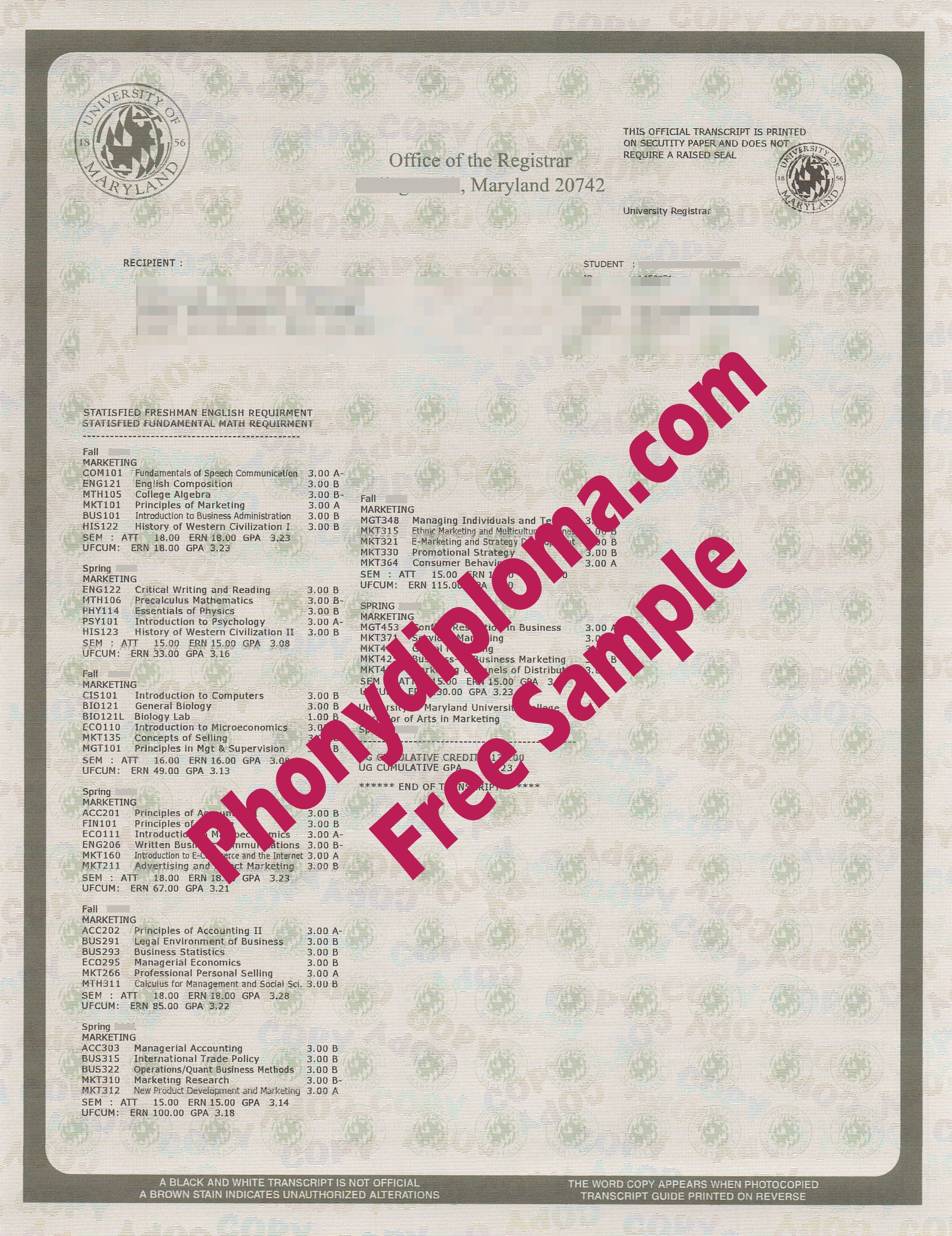 University Of Maryland Actual Match Transcripts College Park Free Sample From Phonydiploma