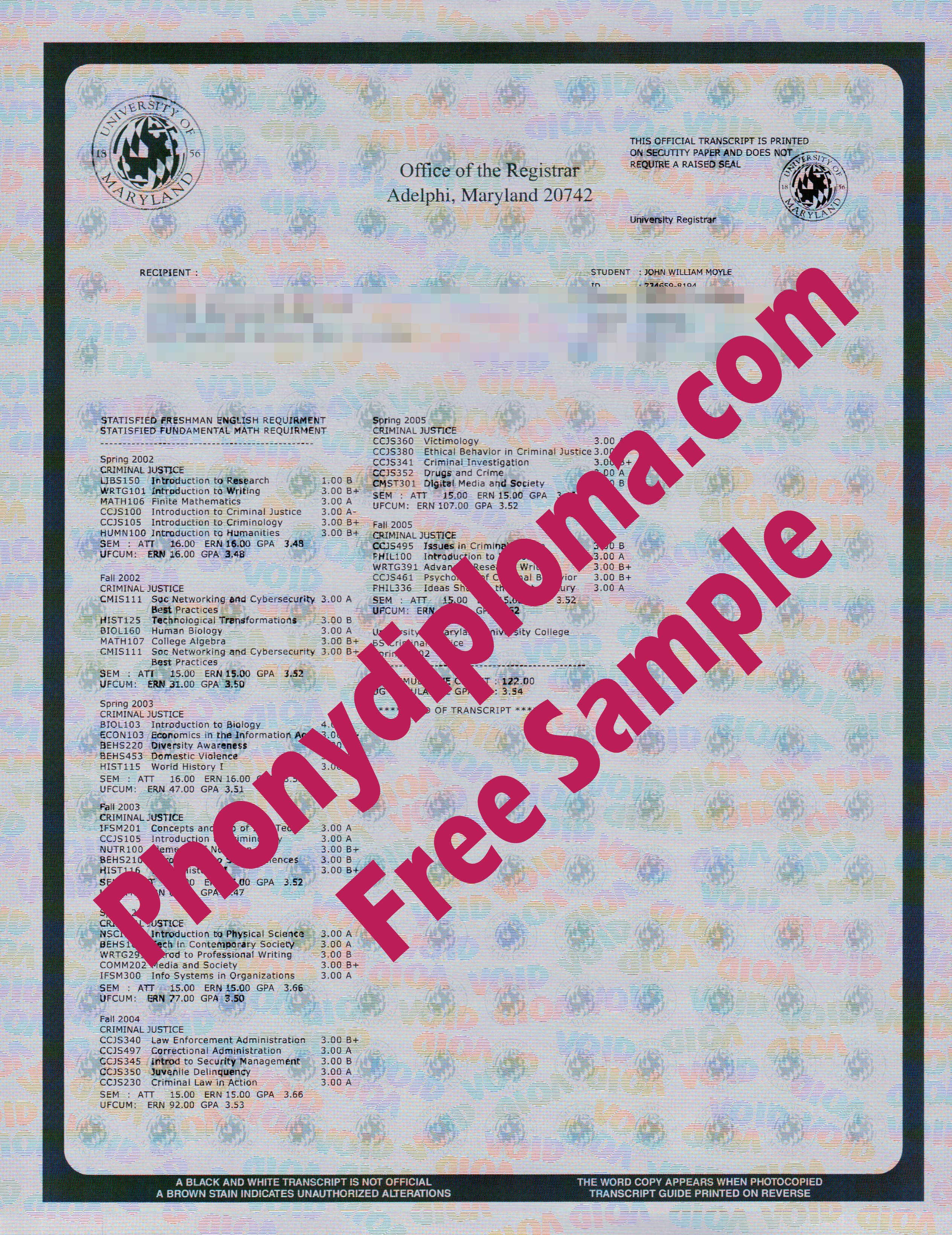 University Of Maryland Actual Match Transcripts Free Sample From Phonydiploma