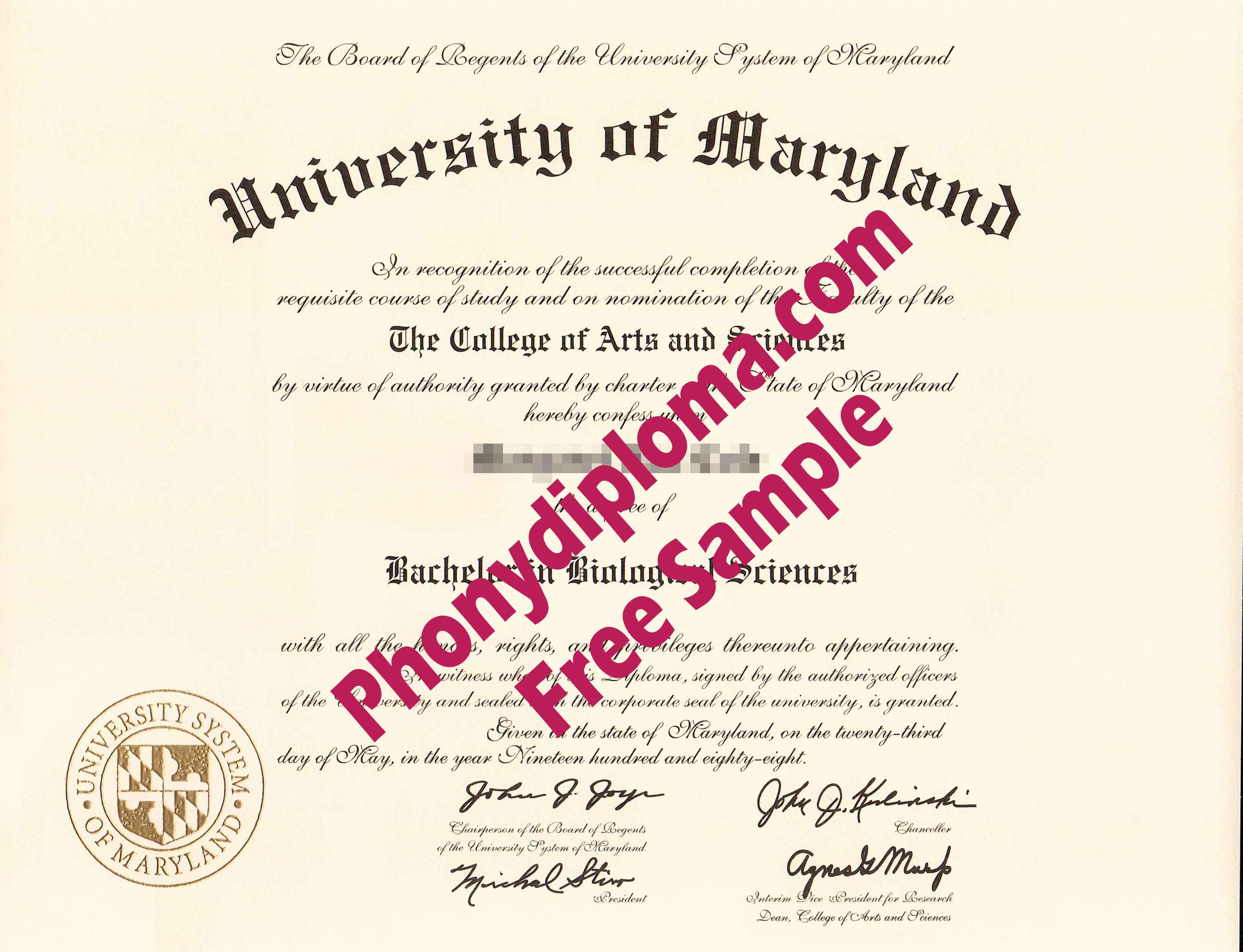 University Of Maryland Any Campus Free Sample From Phonydiploma
