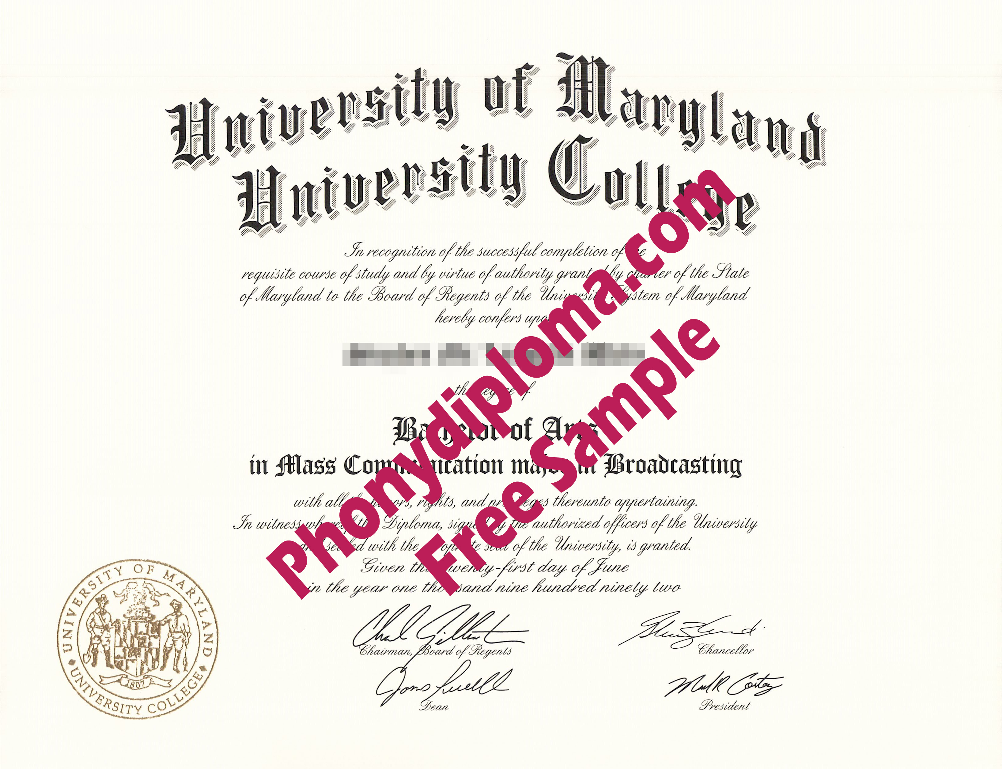 University Of Maryland University College Free Sample From Phonydiploma