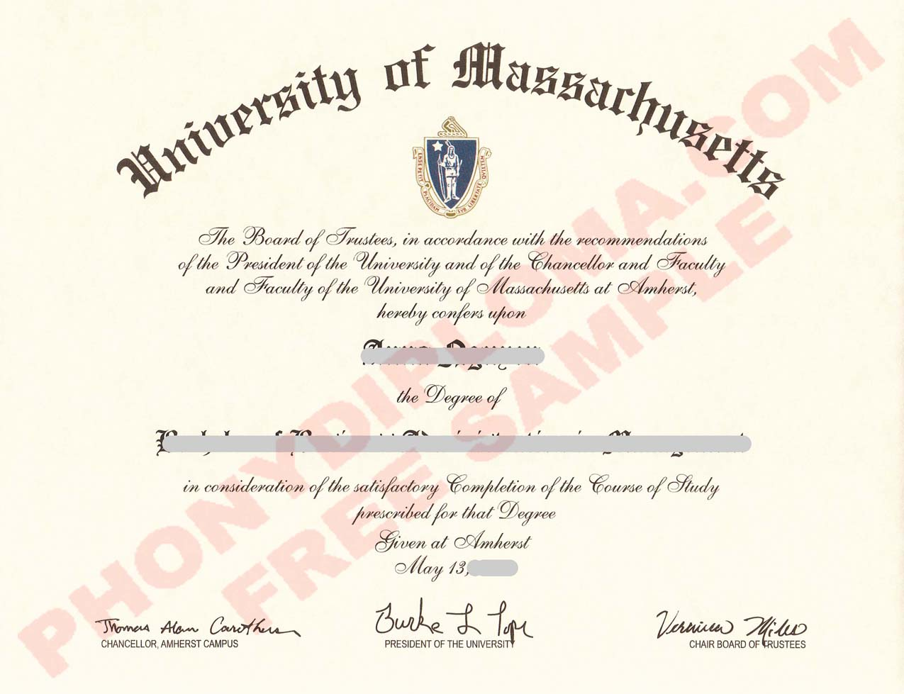University Of Massachusetts Amherst Free Sample From Phonydiploma