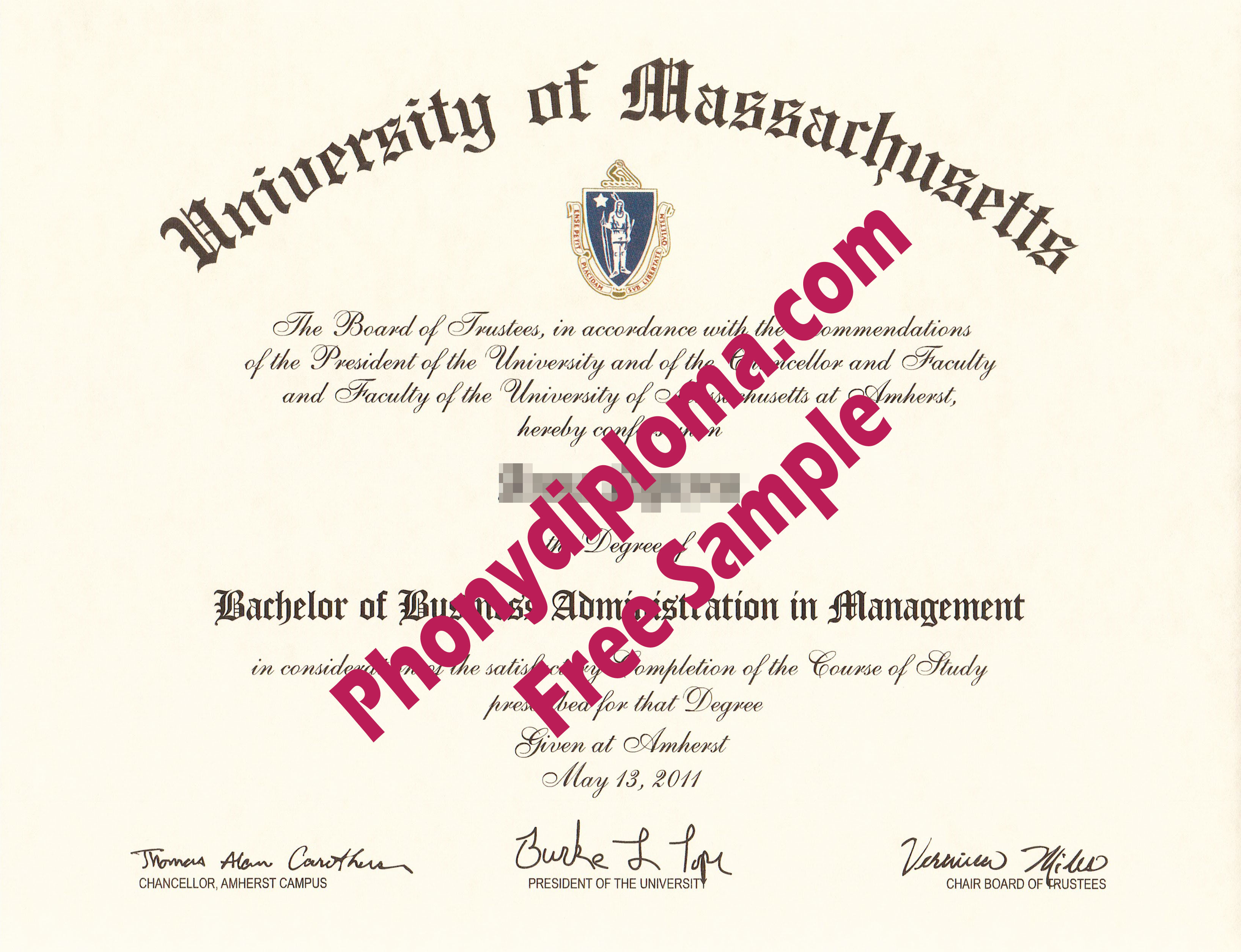 University Of Massachusetts Free Sample From Phonydiploma