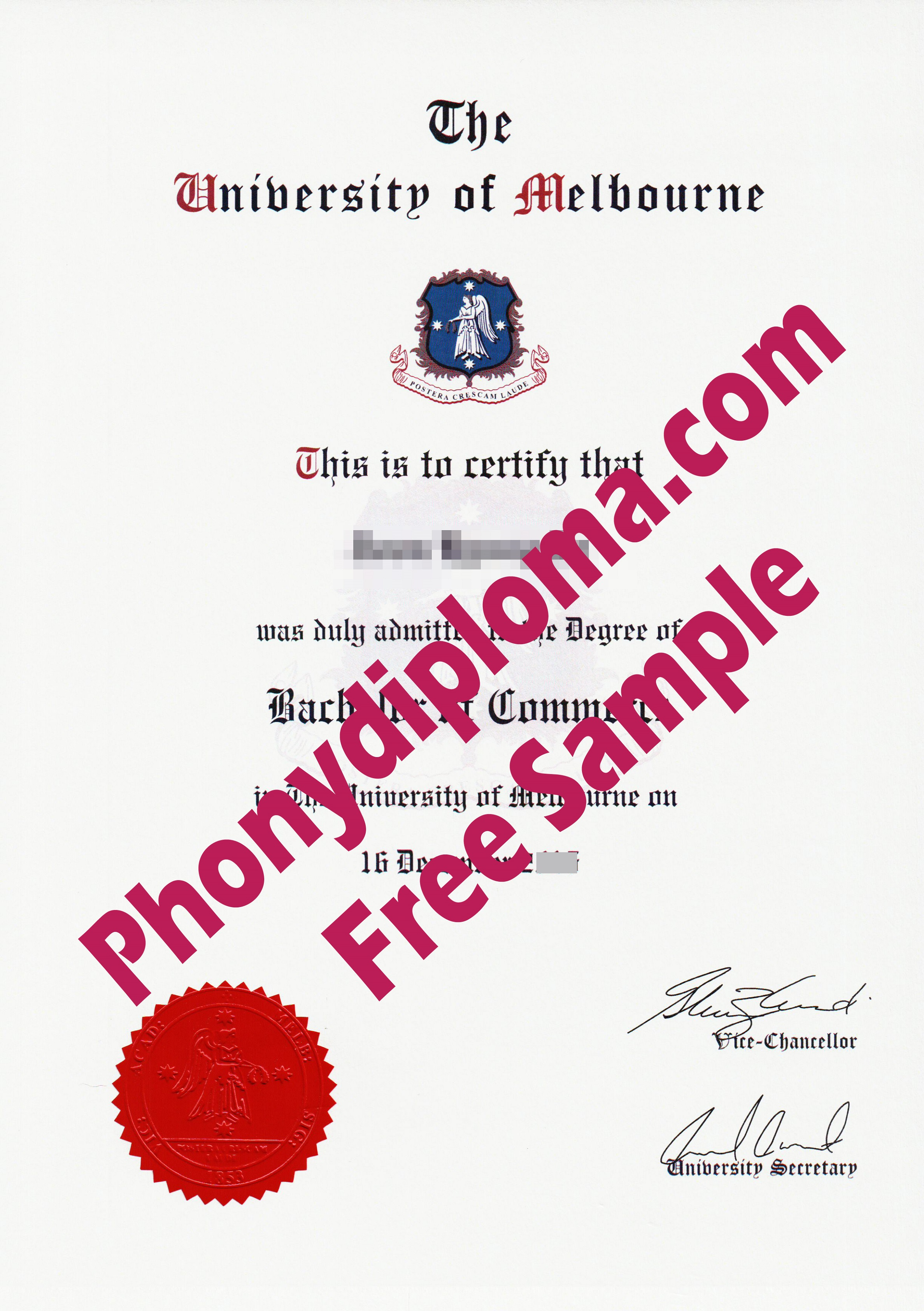 University Of Melbourne Free Sample From Phonydiploma