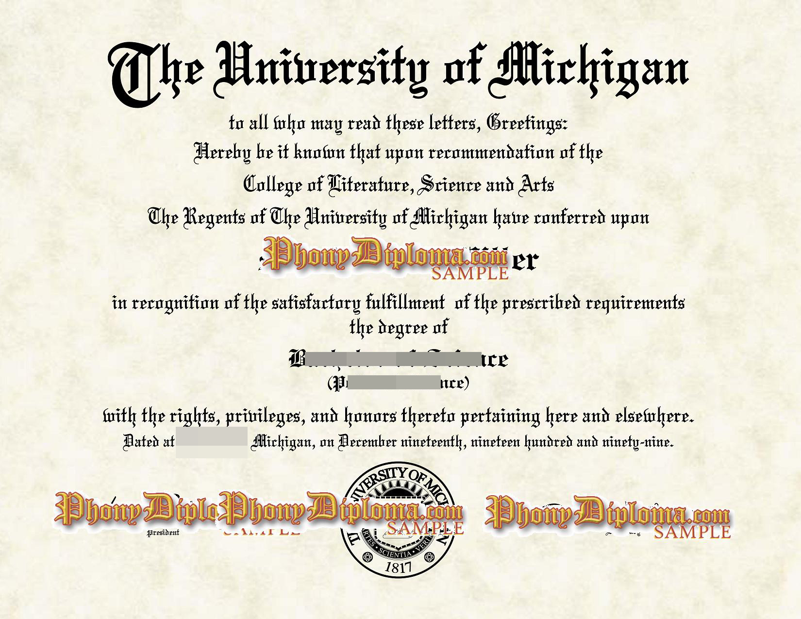 University Of Michigan , Flint Or Dearborn Free Sample From Phonydiploma