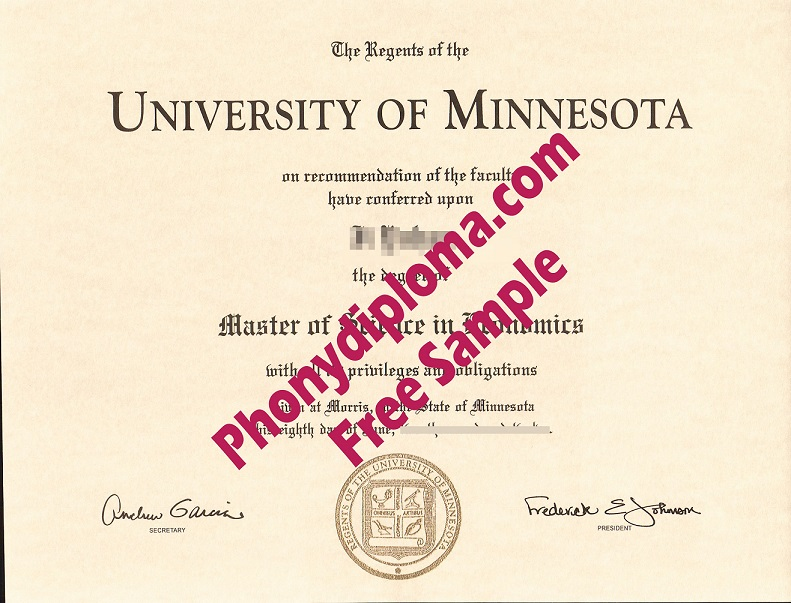 University Of Minnesota Morris Free Sample From Phonydiploma