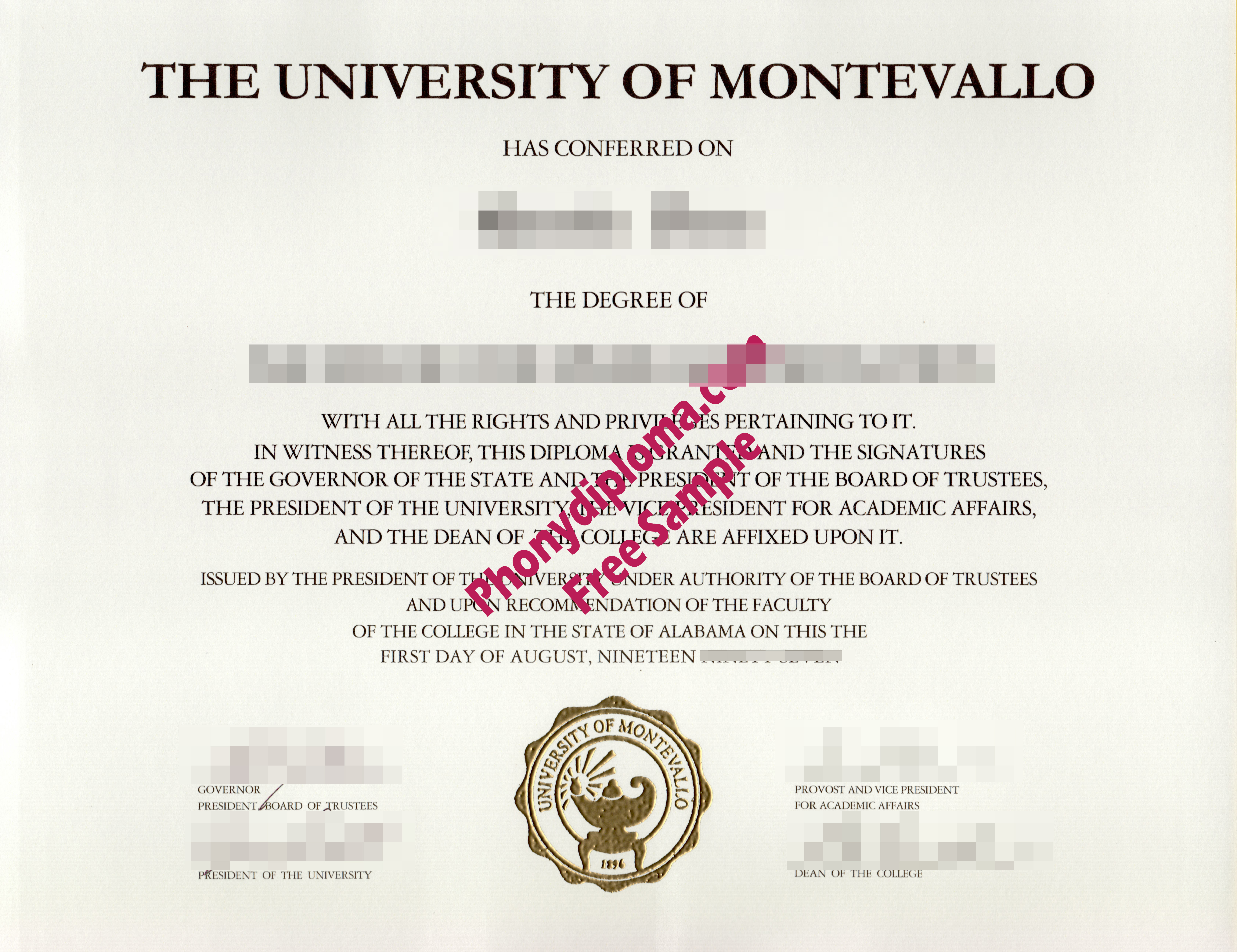 University Of Montevallo Al Free Sample From Phonydiploma