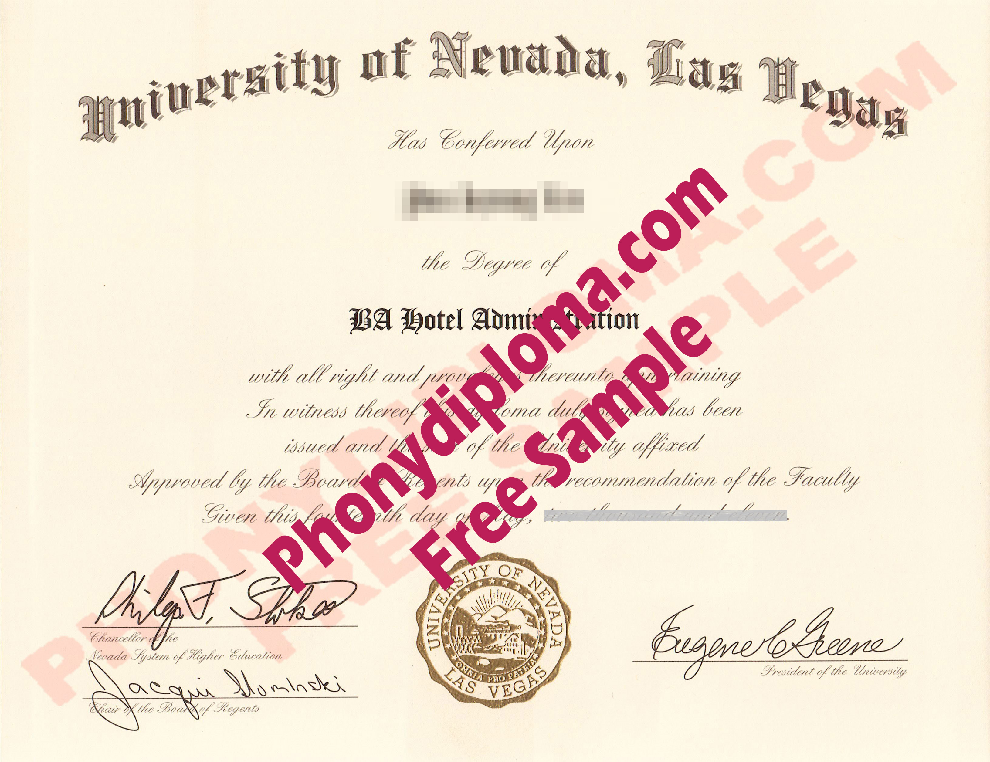 University Of Nevada Las Vegas Free Sample From Phonydiploma