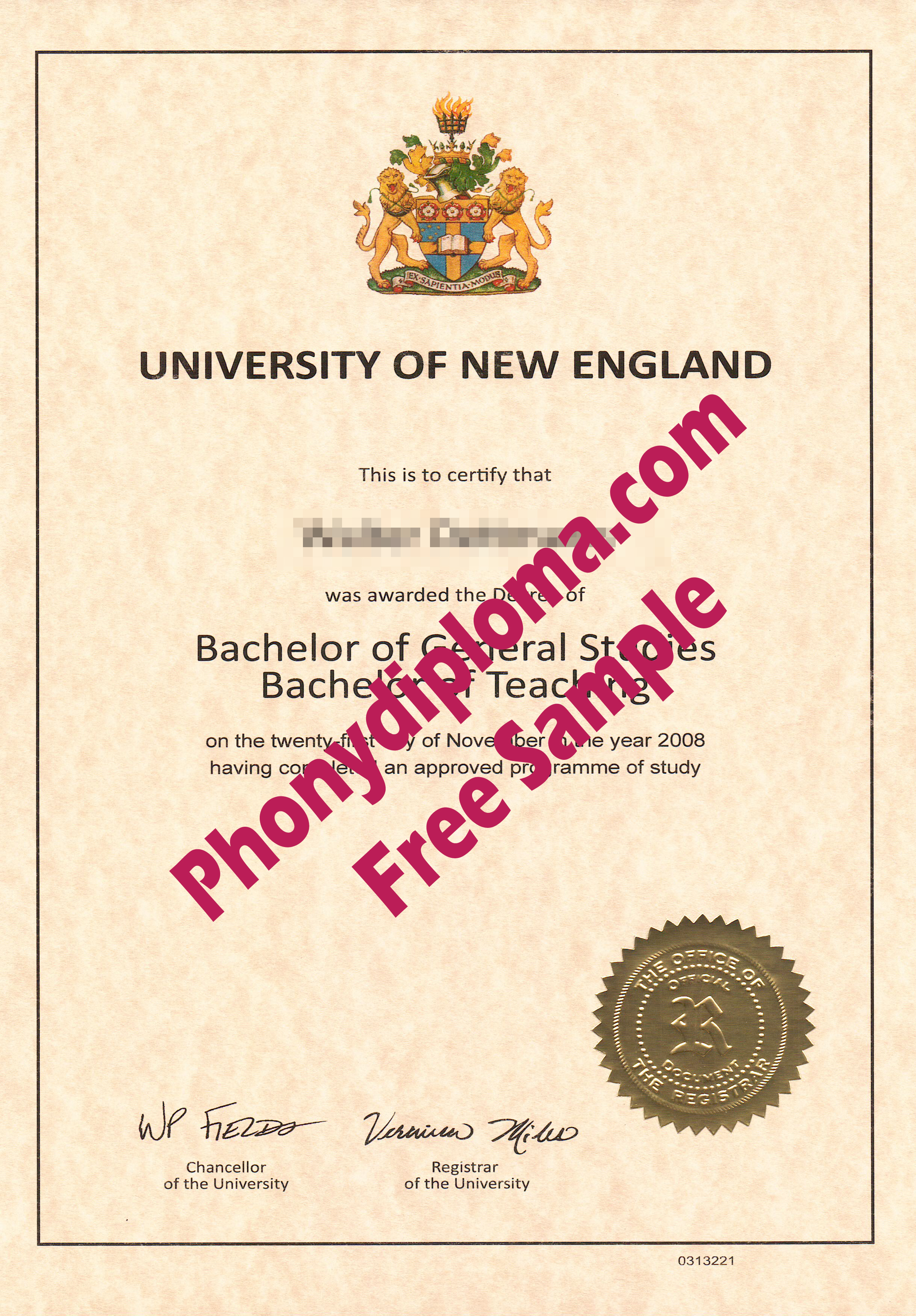 University Of New England Free Sample From Phonydiploma