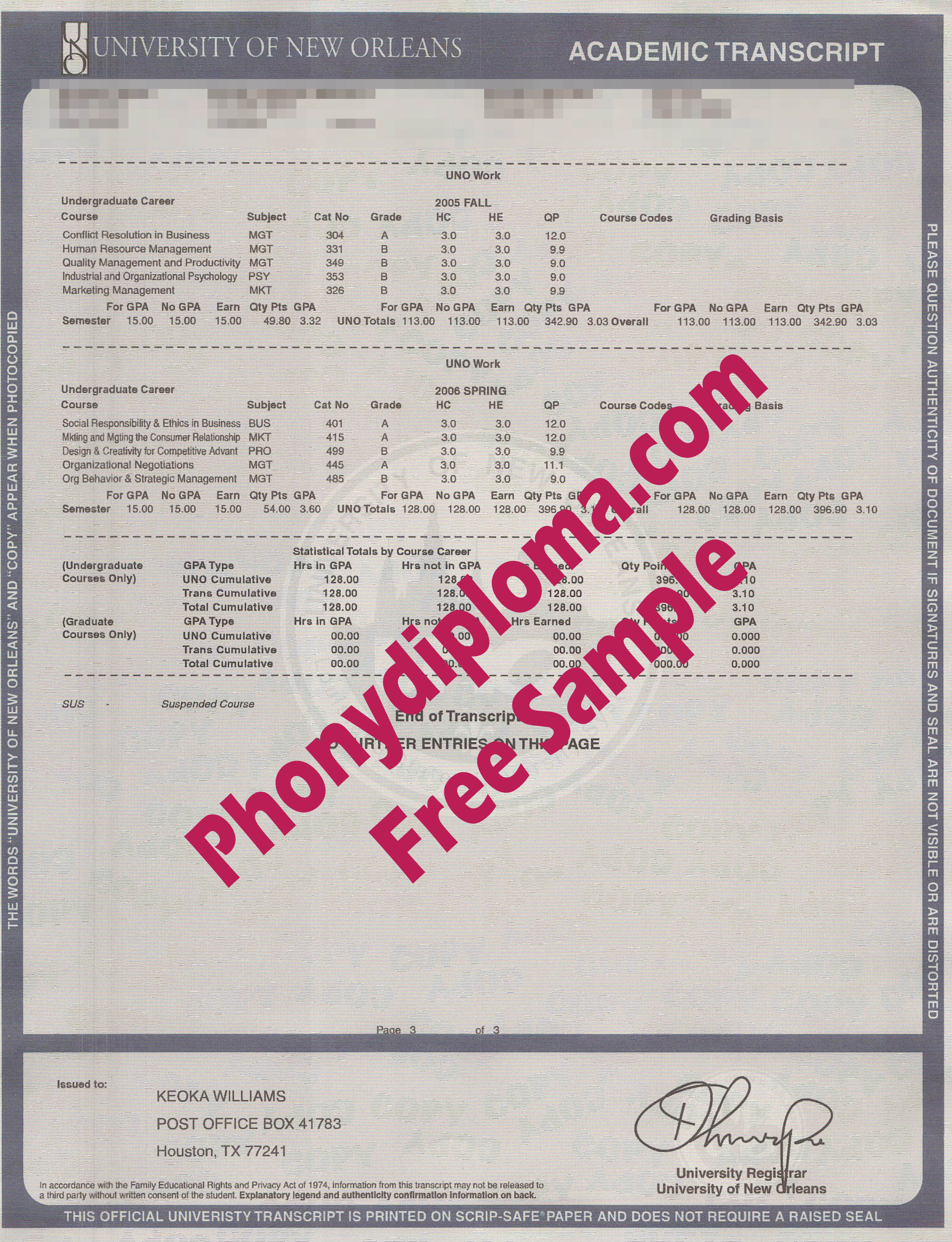 University Of New Orleans Actual Match Transcripts Free Sample From Phonydiploma