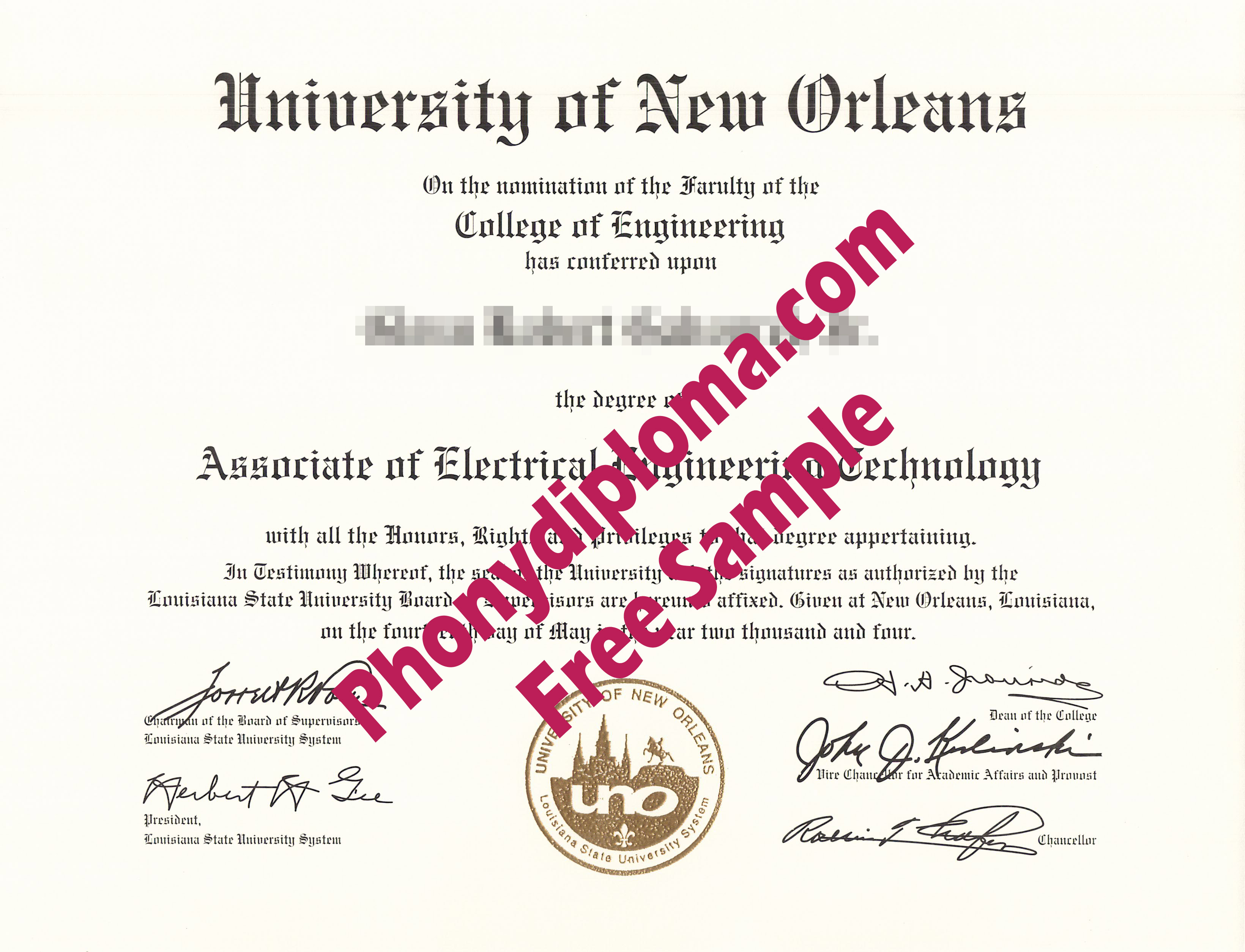 University Of New Orleans Free Sample From Phonydiploma