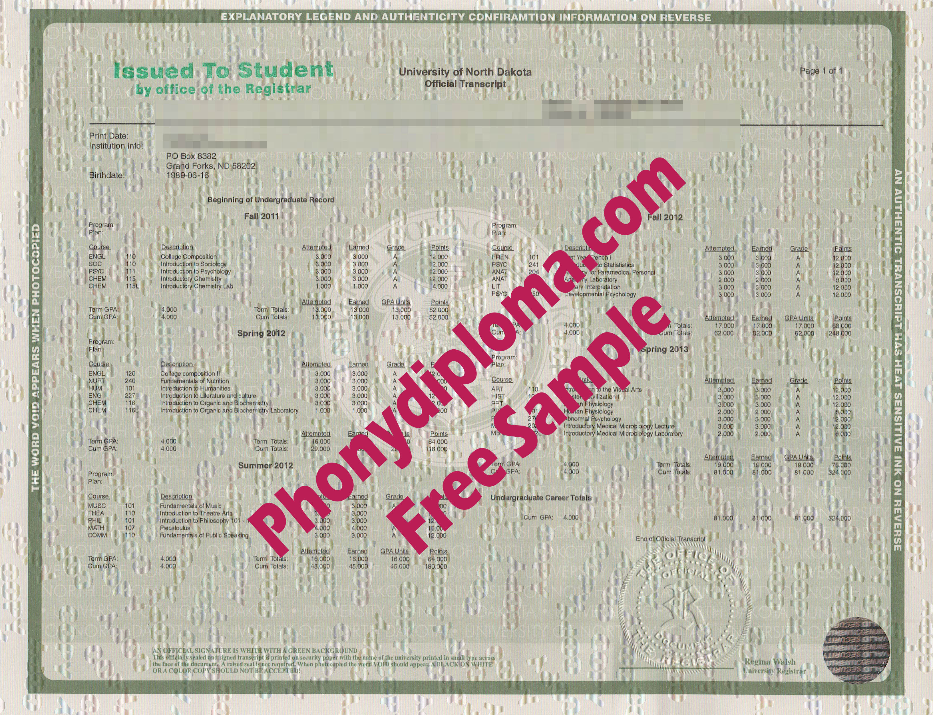 University Of North Dakota Actual Match Transcripts Free Sample From Phonydiploma