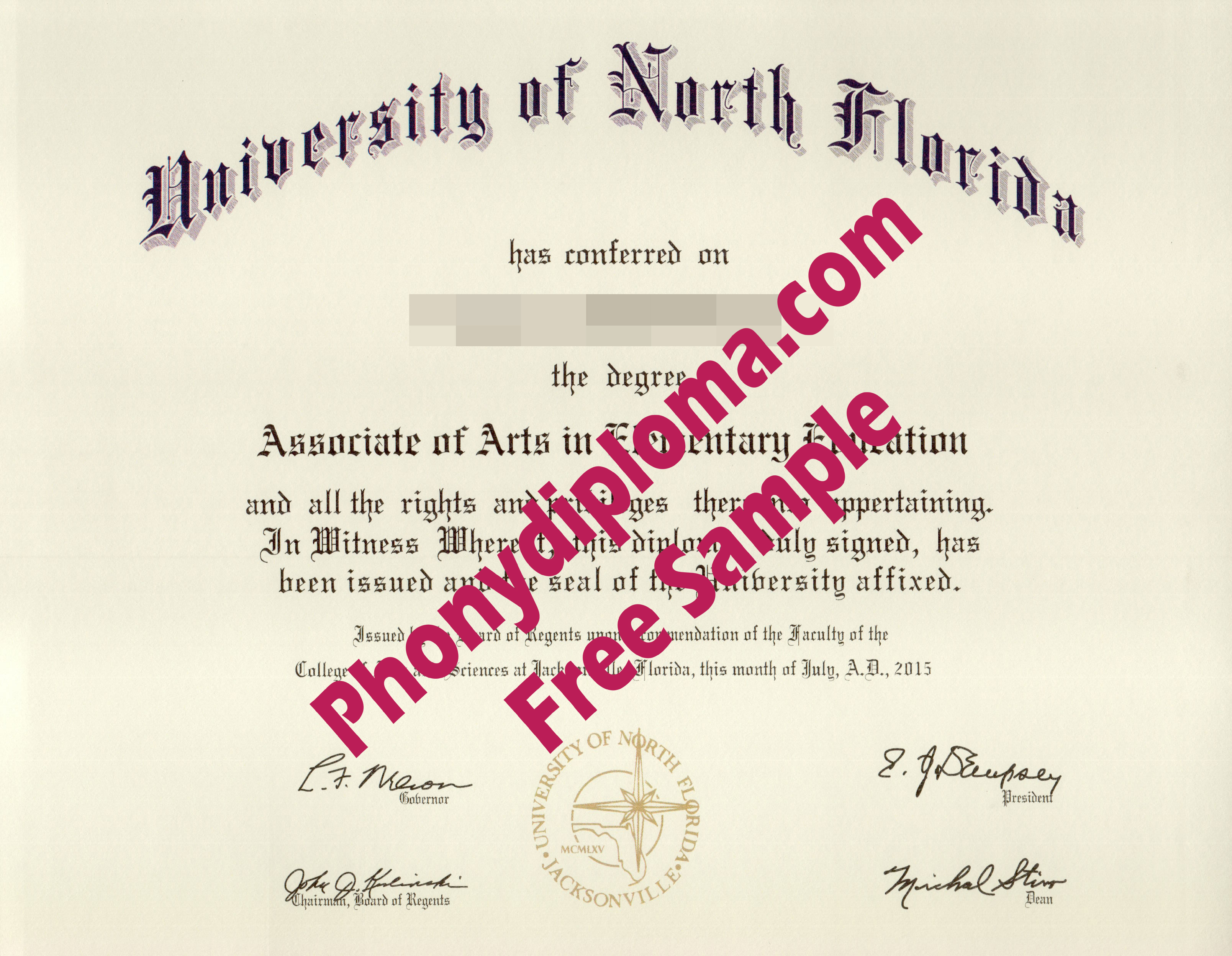 University Of North Florida Free Sample From Phonydiploma