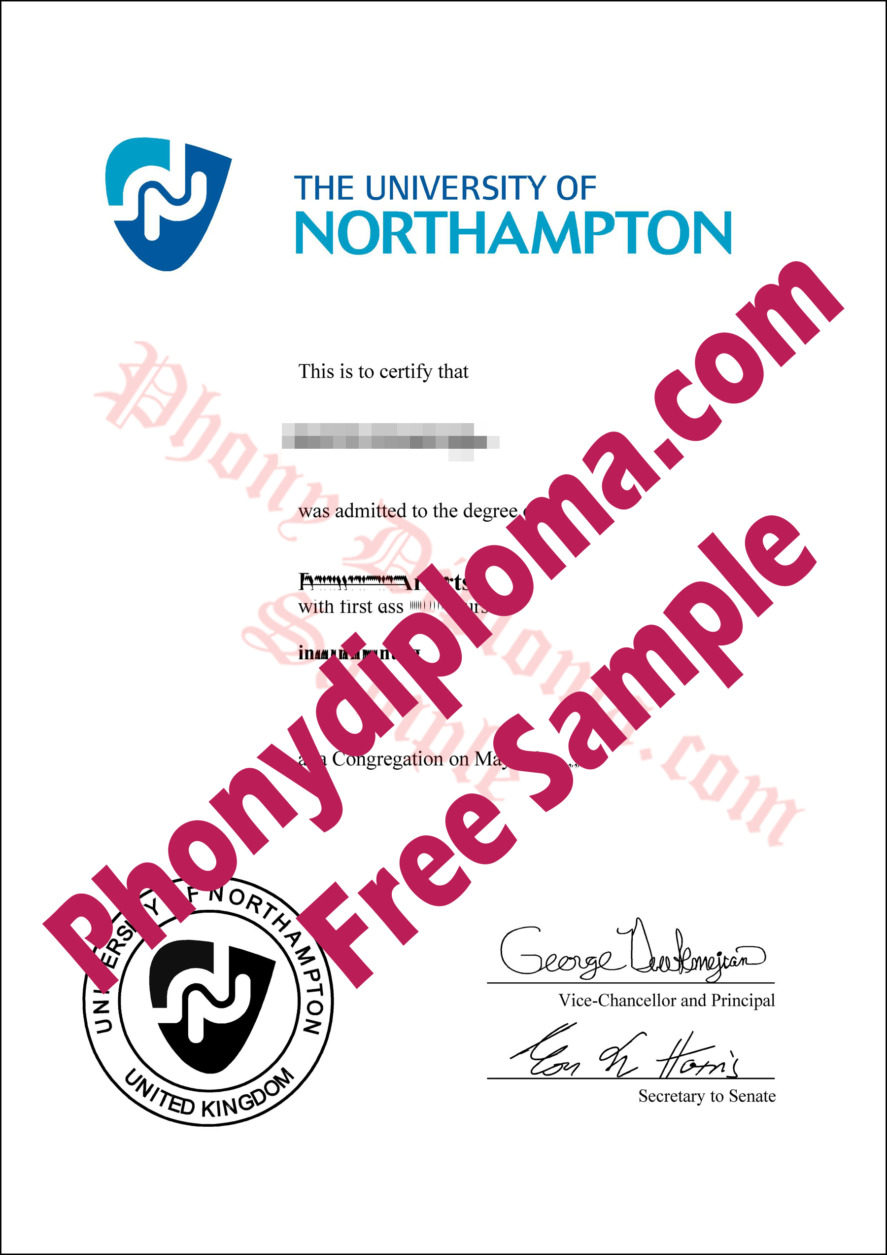 University Of Northampton Free Sample From Phonydiploma