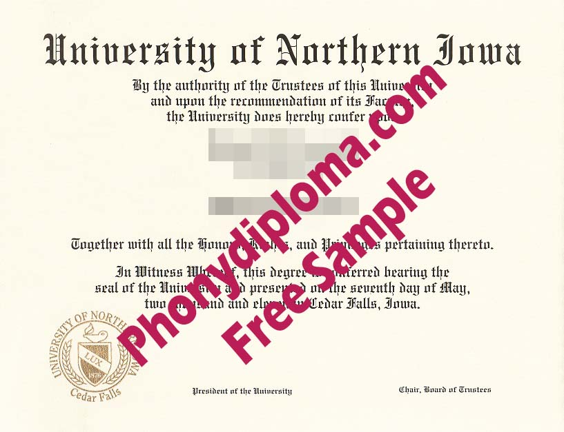 University Of Northern Iowa Free Sample From Phonydiploma
