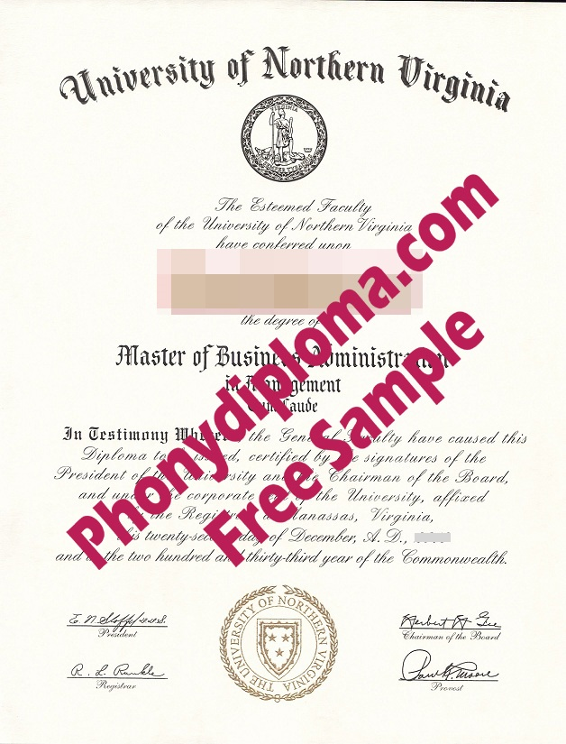 University Of Northern Virginia Free Sample From Phonydiploma