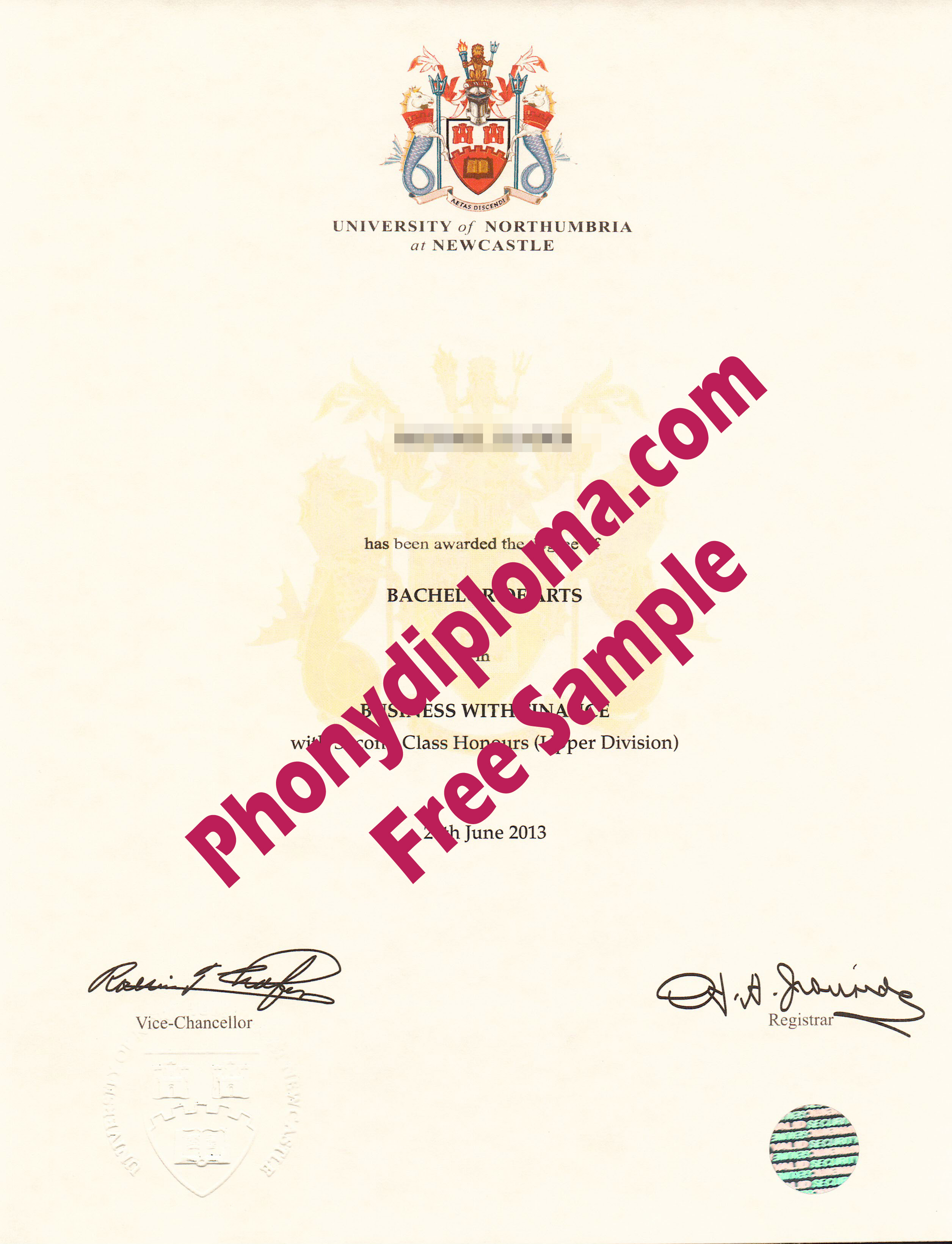 University Of Northumbria Free Sample From Phonydiploma