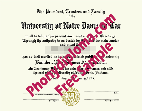 University Of Notre Dame Du Lac Free Sample From Phonydiploma