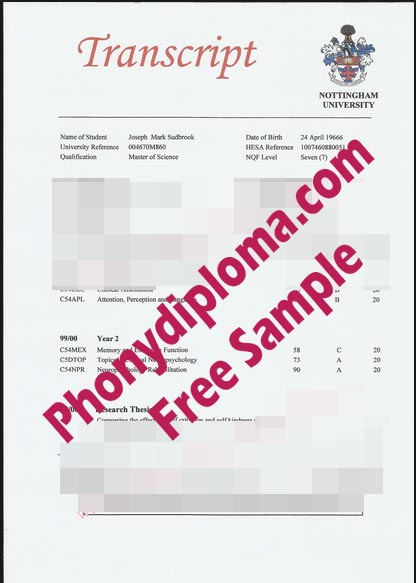 University Of Nottingham Actual Match Transcript Free Sample From Phonydiploma